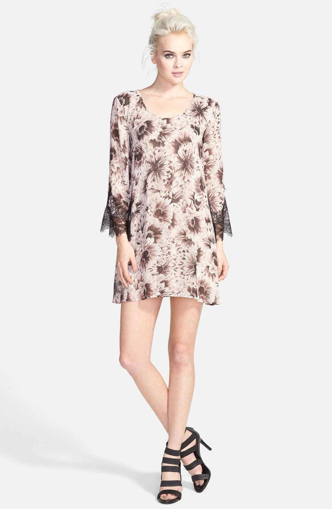 ASTR Lace Sleeve Shift Dress,                         Main,                         color, Plum/ Black