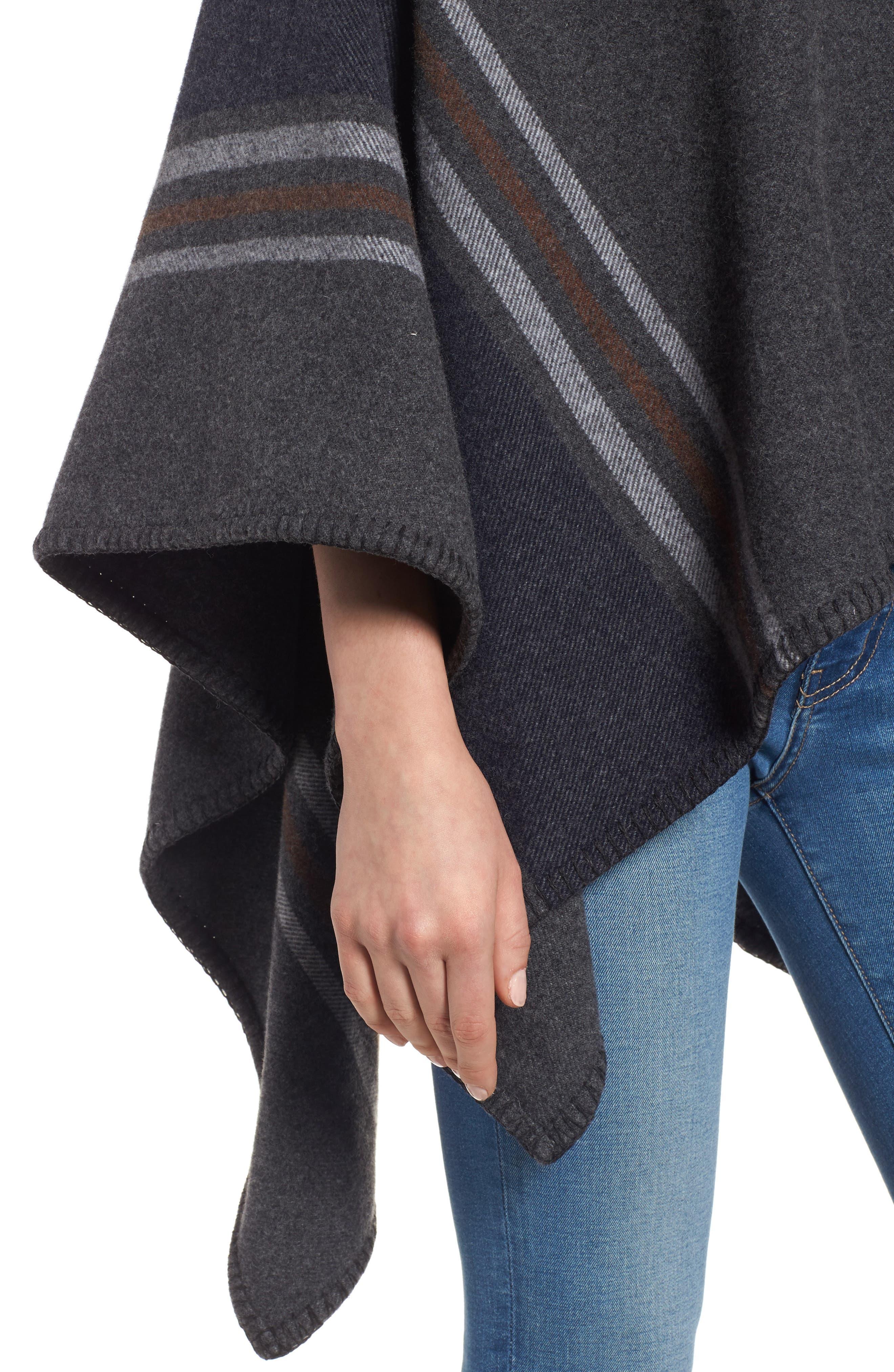 Addison Stripe Wool Wrap,                             Alternate thumbnail 5, color,                             Dark Grey