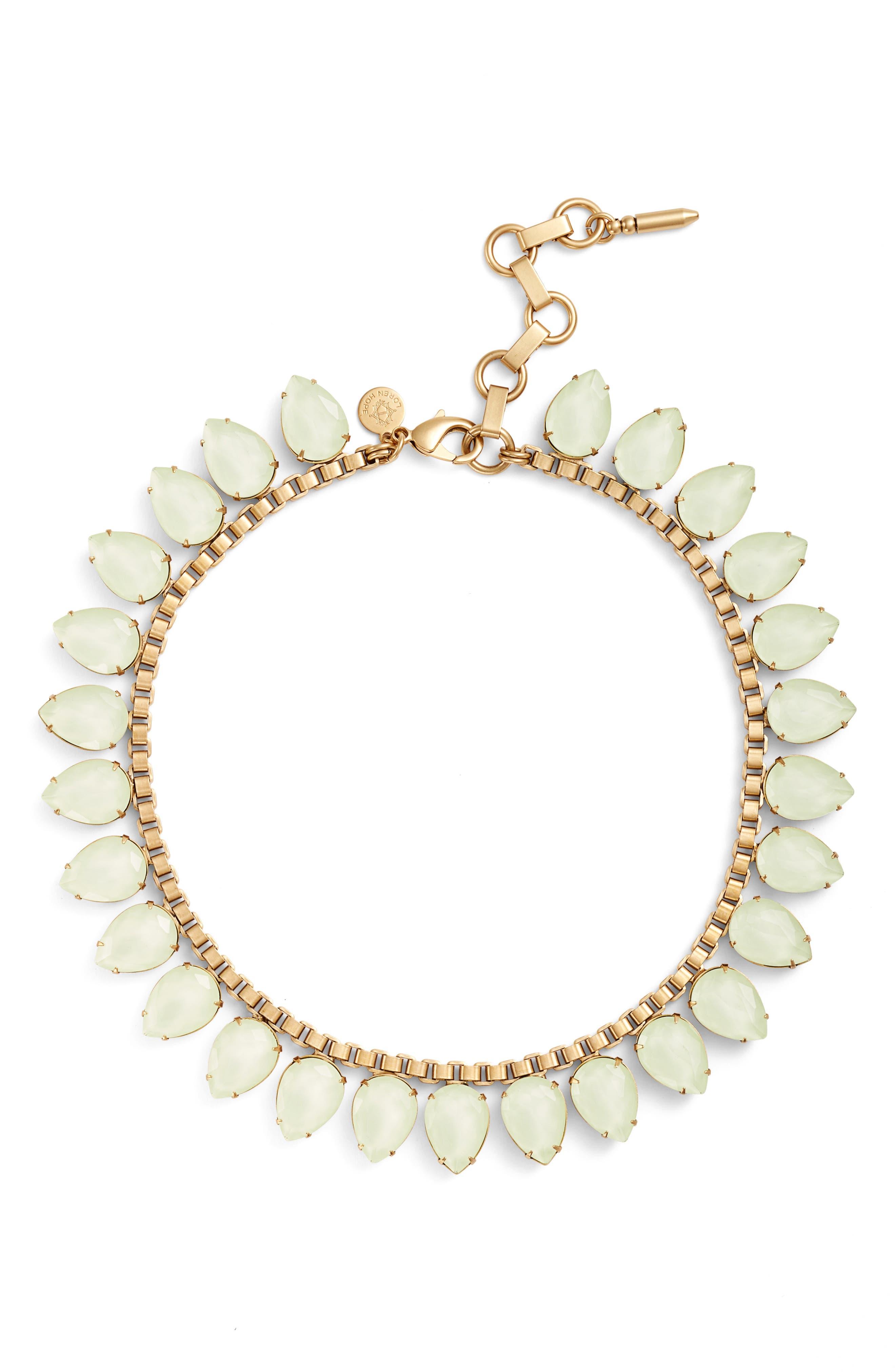 'Sylvia' Crystal Collar Necklace,                         Main,                         color, Milky Green