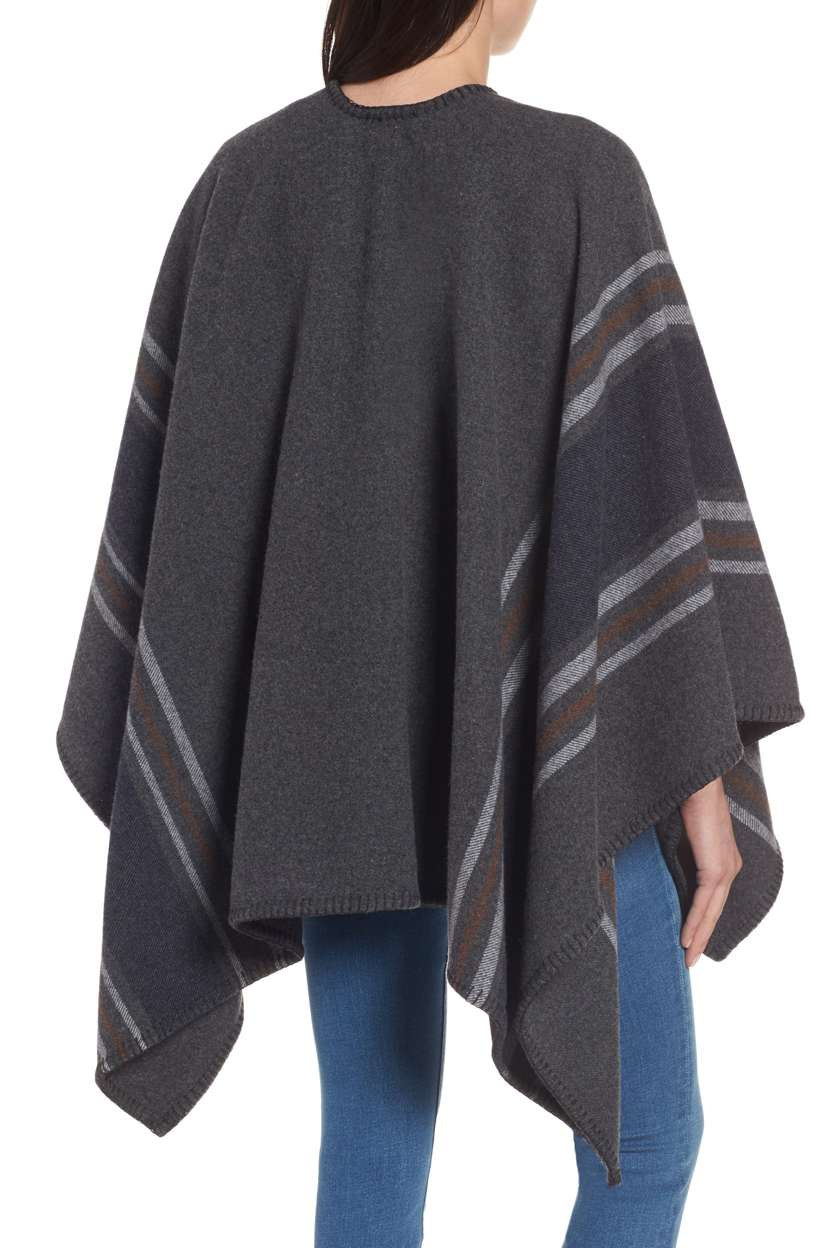 Addison Stripe Wool Wrap,                             Alternate thumbnail 3, color,                             Dark Grey
