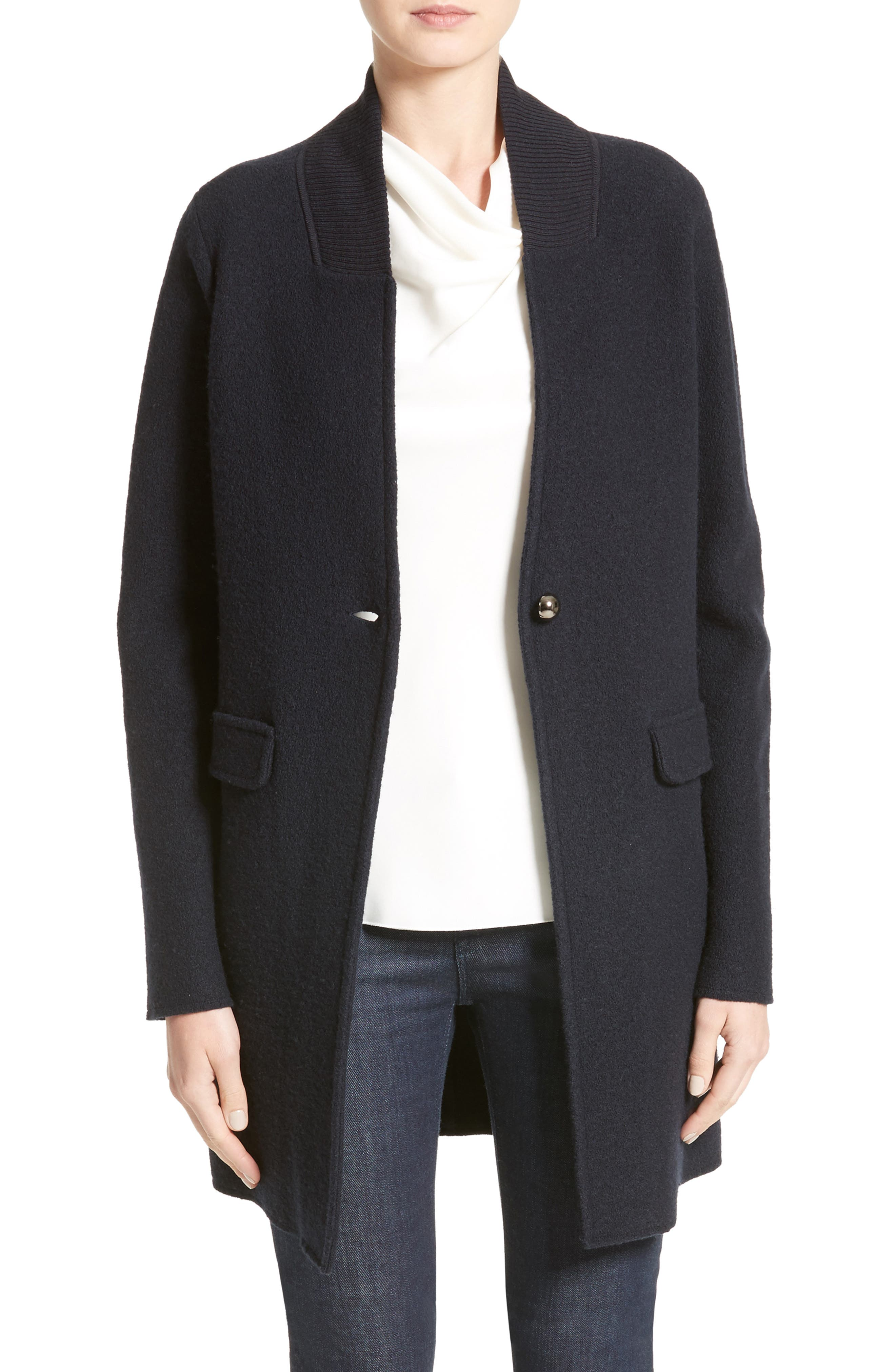 Armani Jeans Single Button Wool Coat,                         Main,                         color, Navy