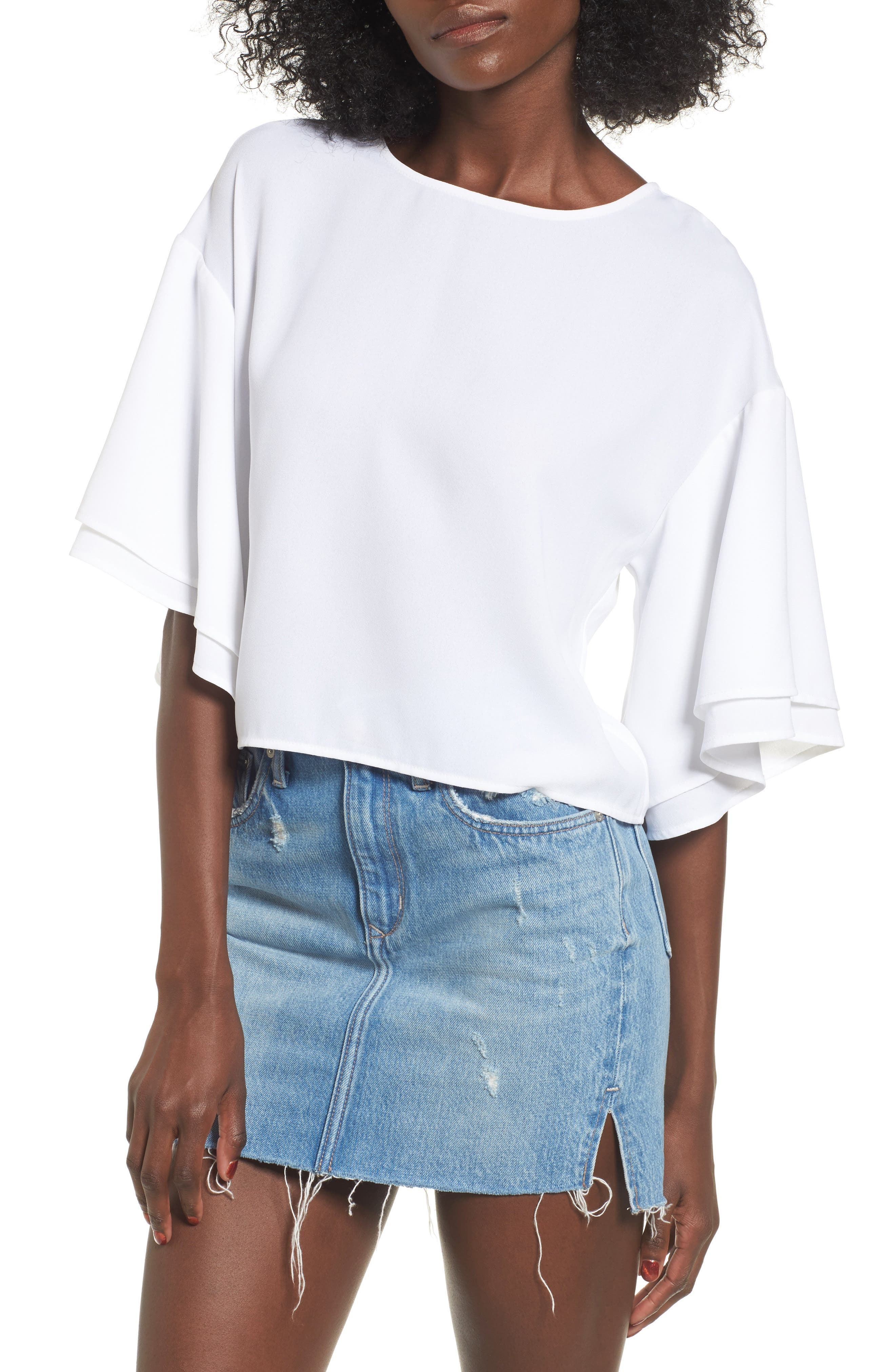 Alternate Image 1 Selected - Leith Double Ruffle Sleeve Top