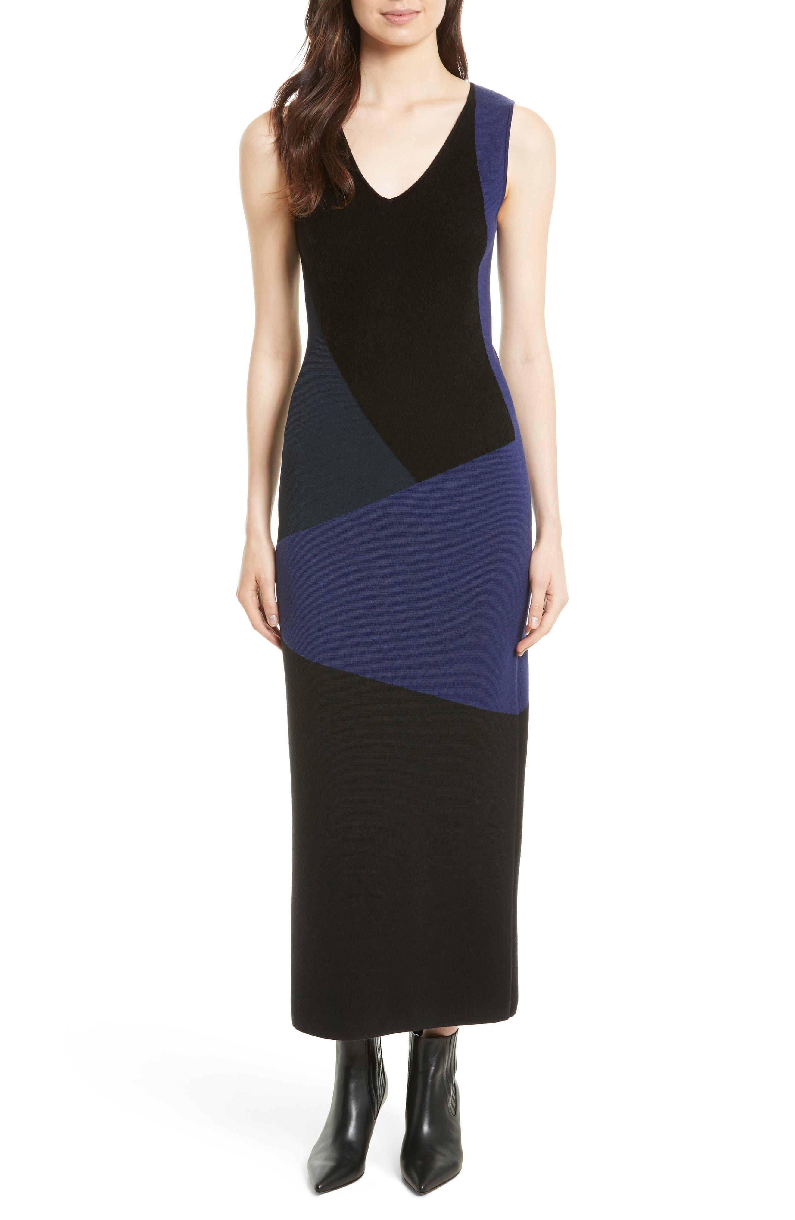 Body-Con Knit Maxi Dress,                             Main thumbnail 1, color,                             Black/ Deep Violet