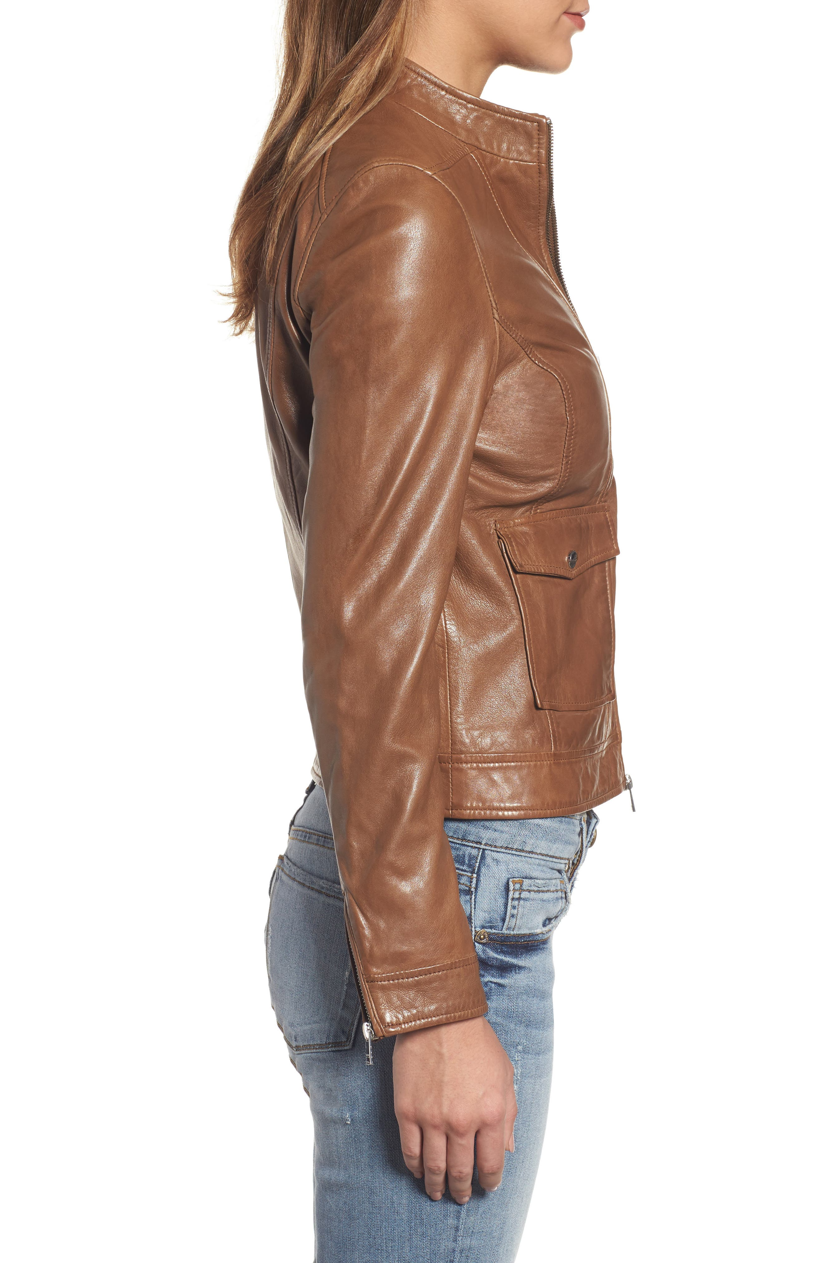 Alternate Image 3  - LAMARQUE Patch Pocket Leather Biker Jacket
