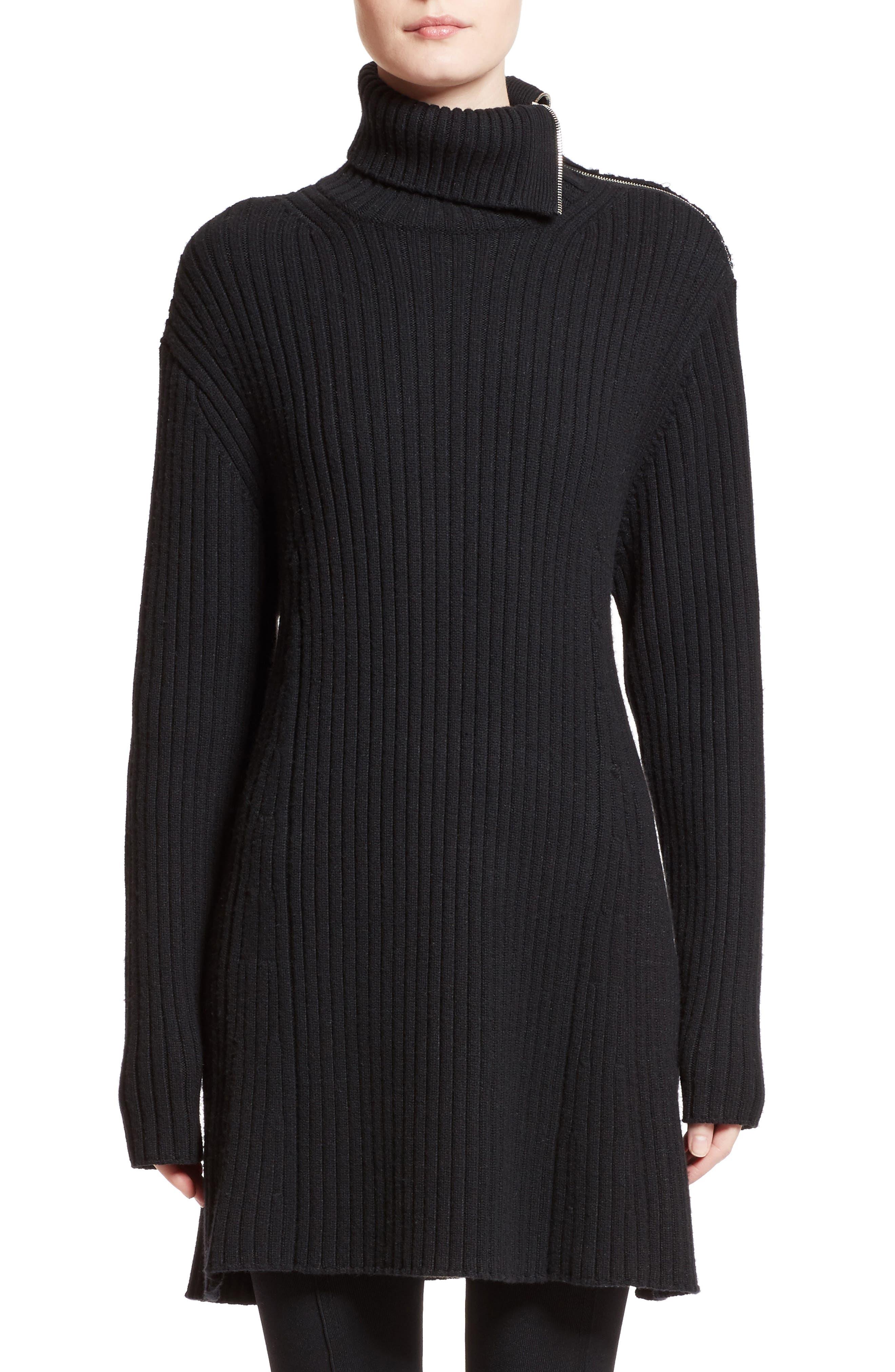 Wool & Cashmere Blend Turtleneck Dress,                         Main,                         color, Black
