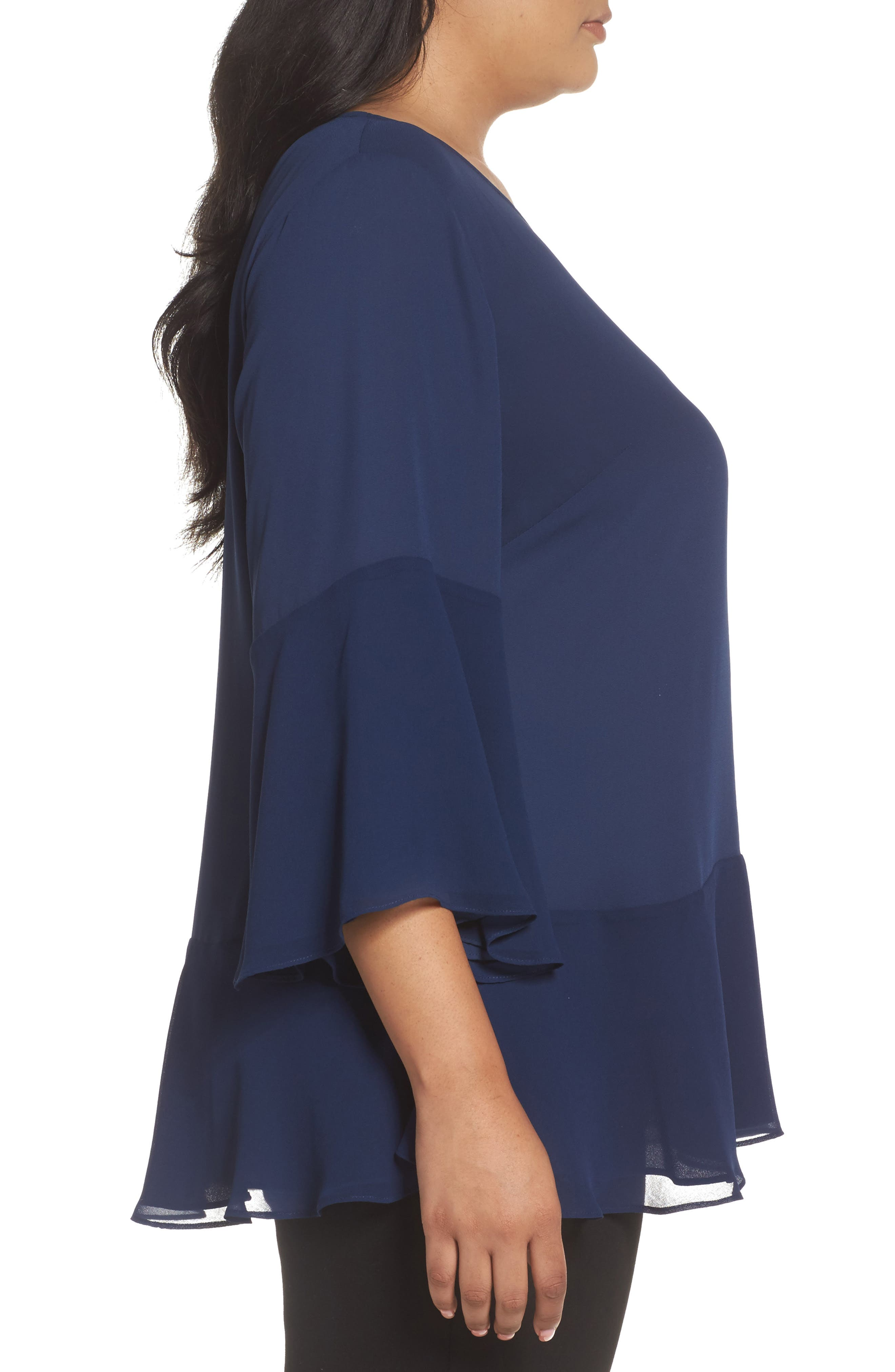Flare Sleeve Double Layer Top,                             Alternate thumbnail 3, color,                             Navy Medieval