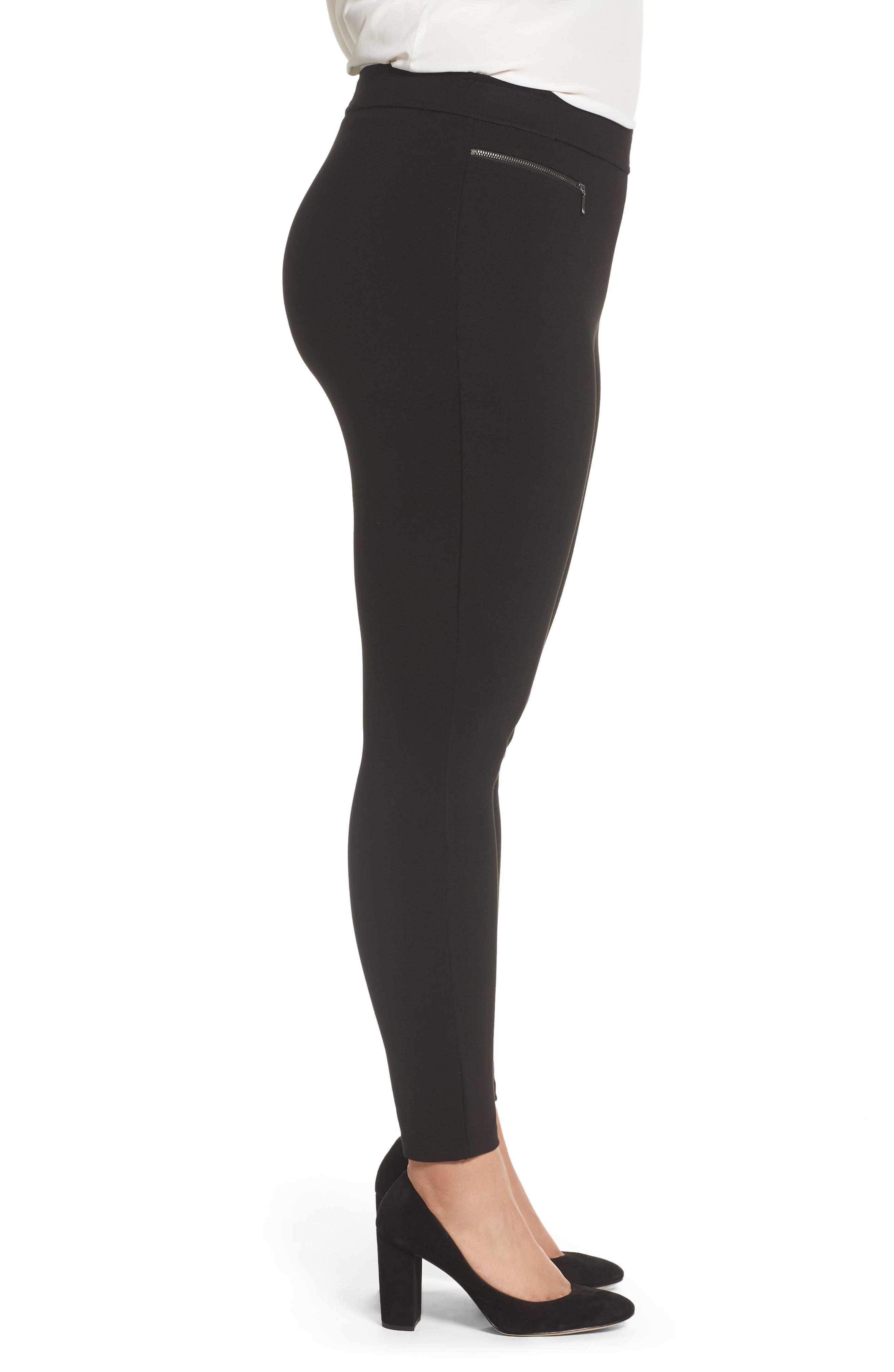 Zip Pocket Ankle Leggings,                             Alternate thumbnail 4, color,                             Black