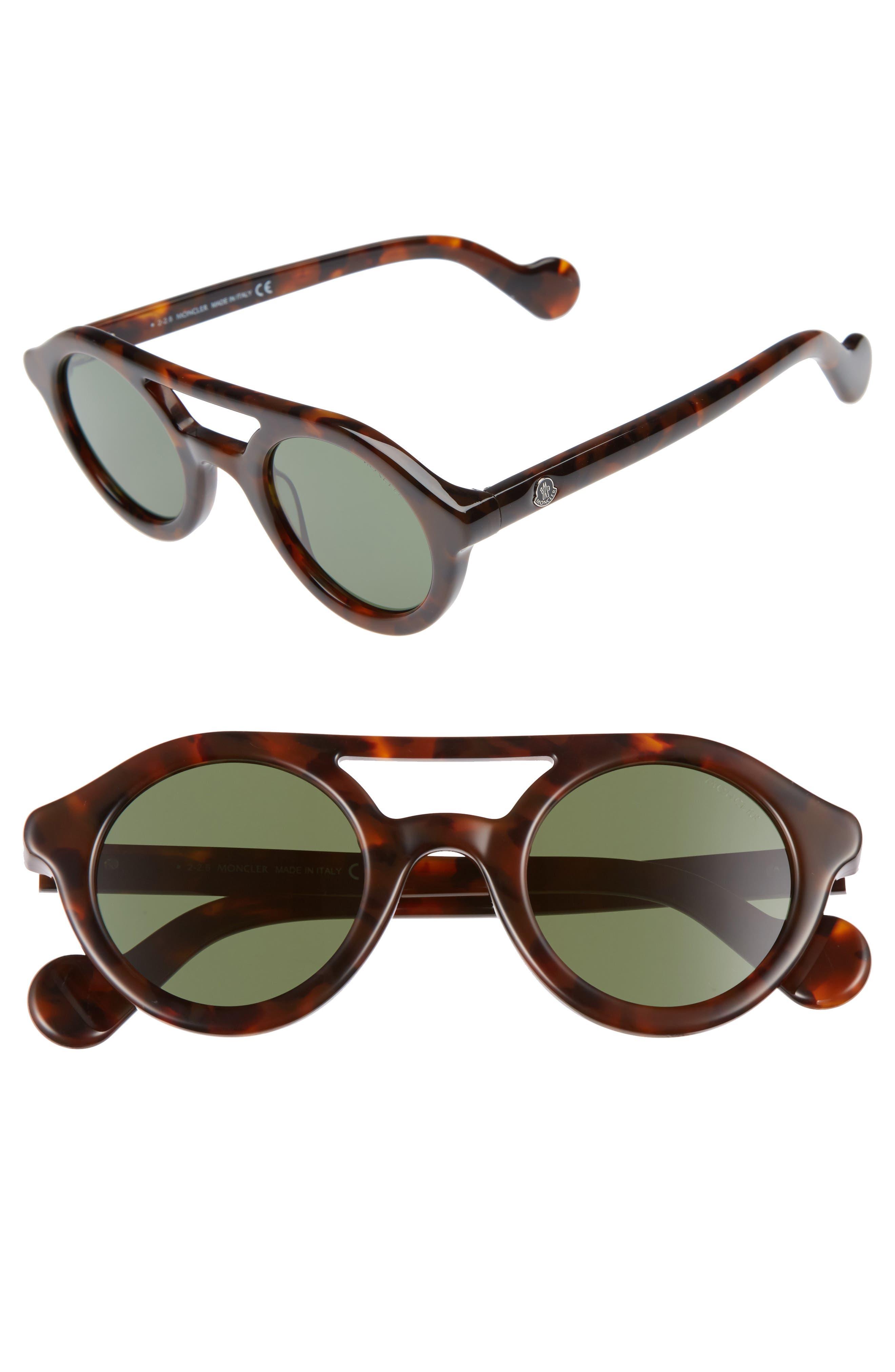 72b8e787f24 Moncler 47Mm Rounded Sunglasses - Dark Havana   Green ...