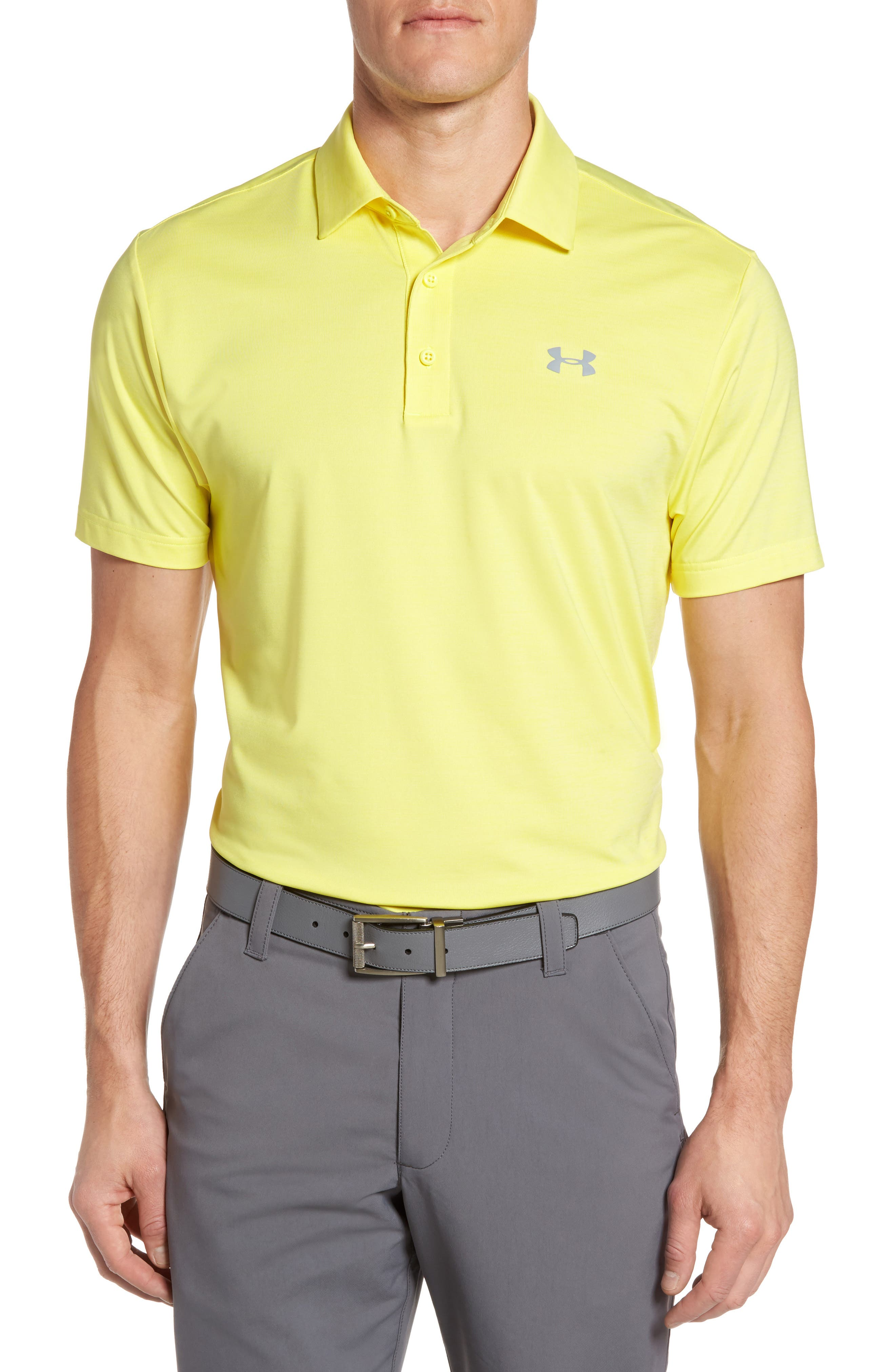 'Playoff' Loose Fit Short Sleeve Polo,                         Main,                         color, Tokyo Lemon / Steel