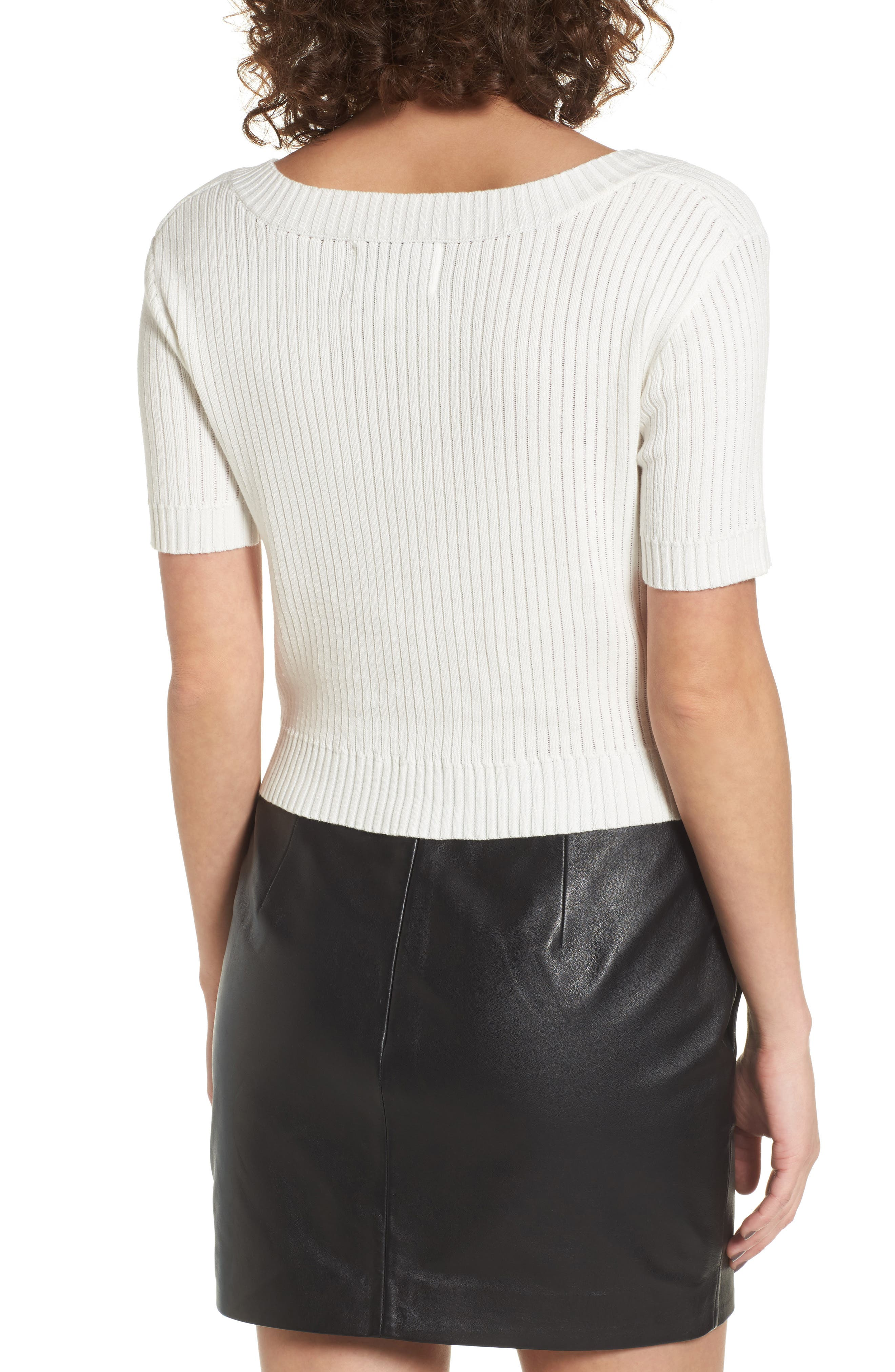 Knot Front Sweater,                             Alternate thumbnail 2, color,                             White