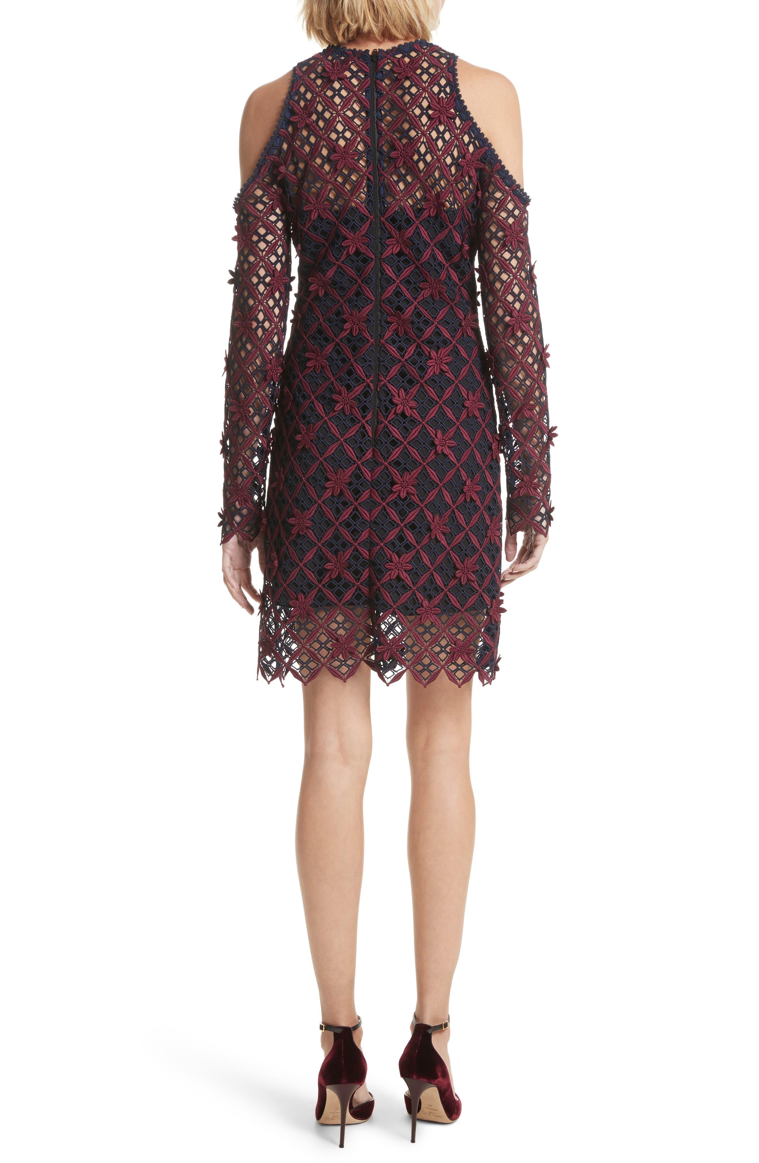Alternate Image 2  - Self-Portrait Floral Grid Cold Shoulder Dress