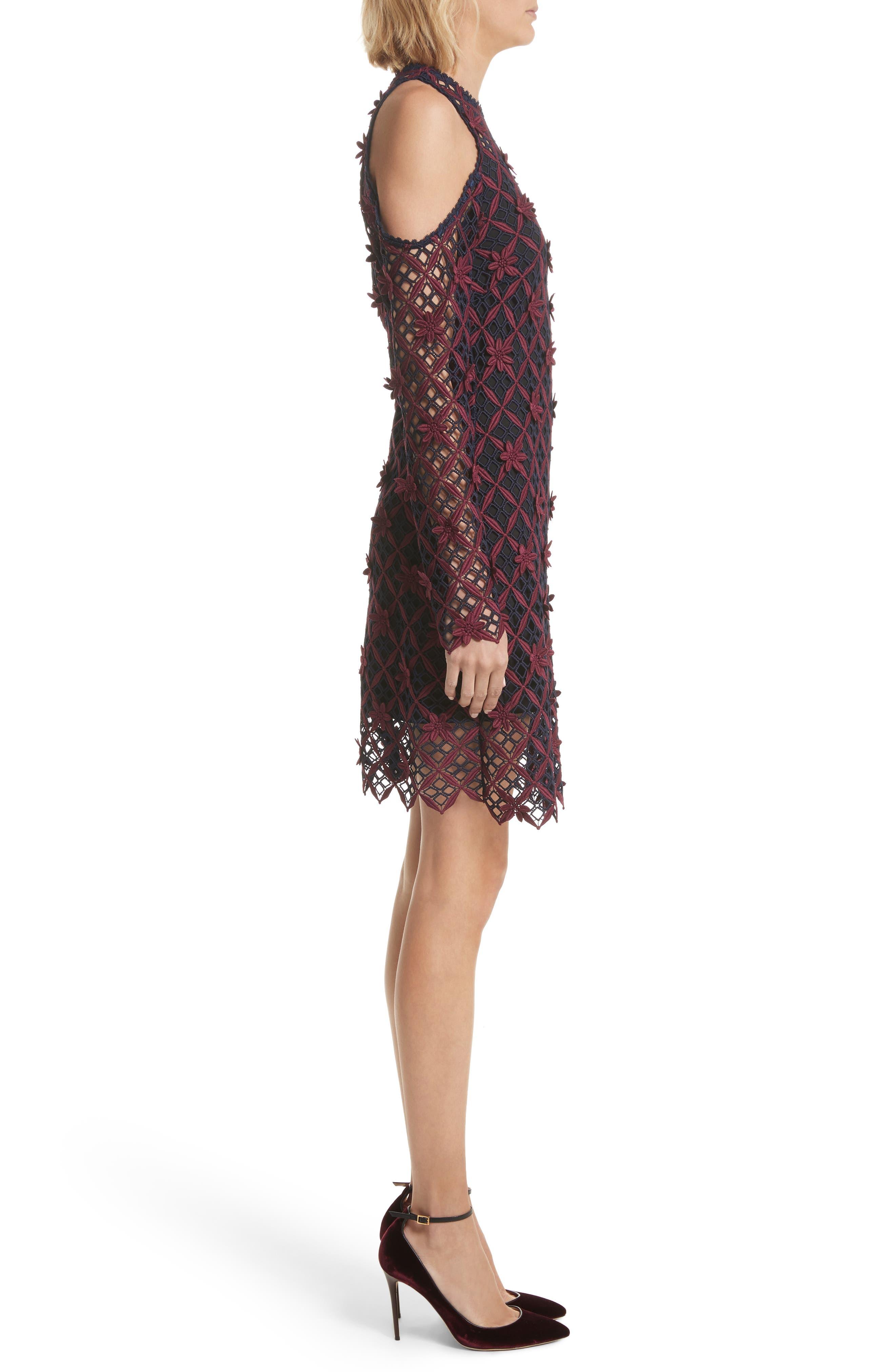 Alternate Image 3  - Self-Portrait Floral Grid Cold Shoulder Dress