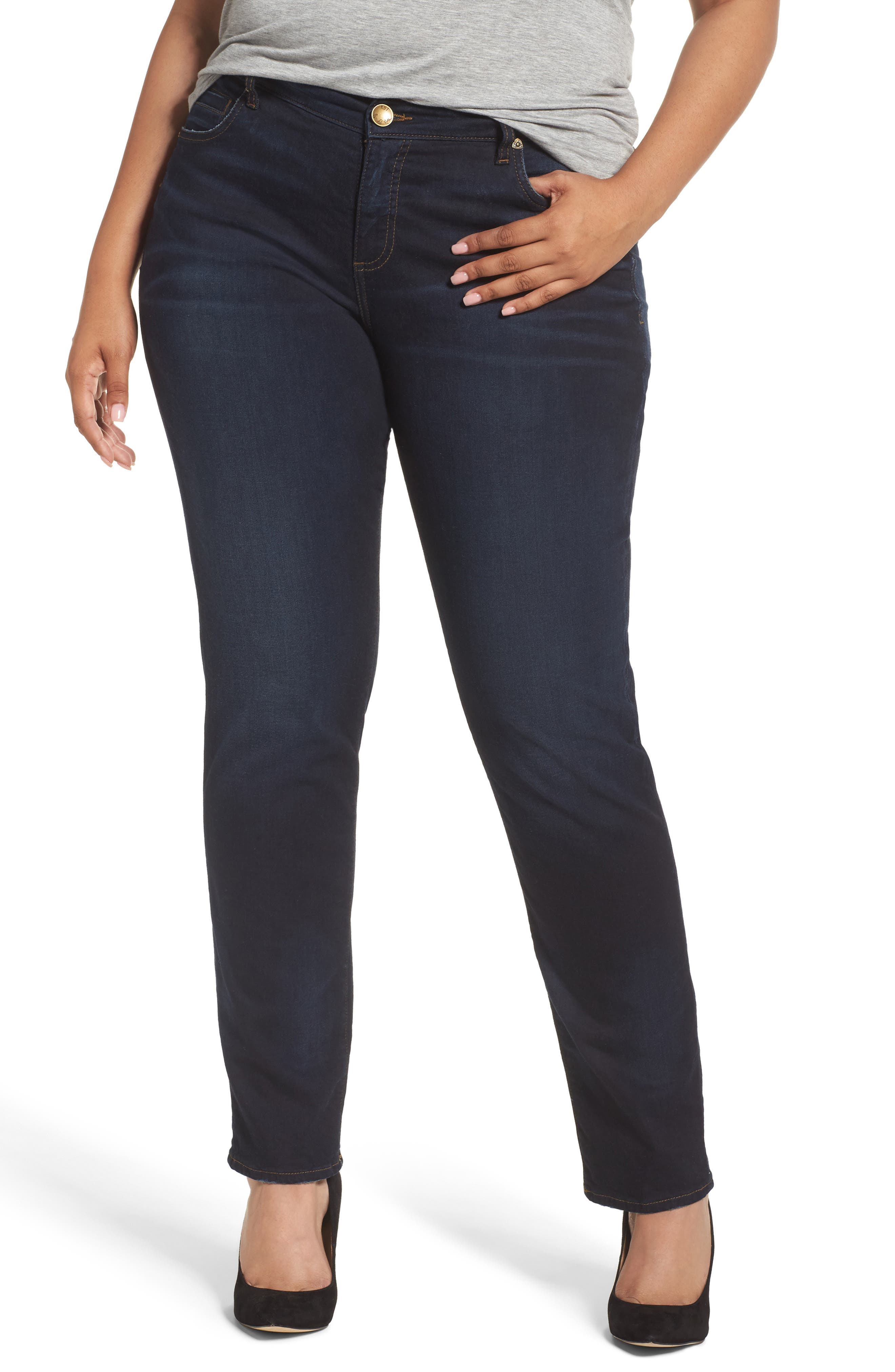 Alternate Image 1 Selected - KUT from the Kloth Diana Stretch Skinny Jeans (Lionized) (Plus Size)