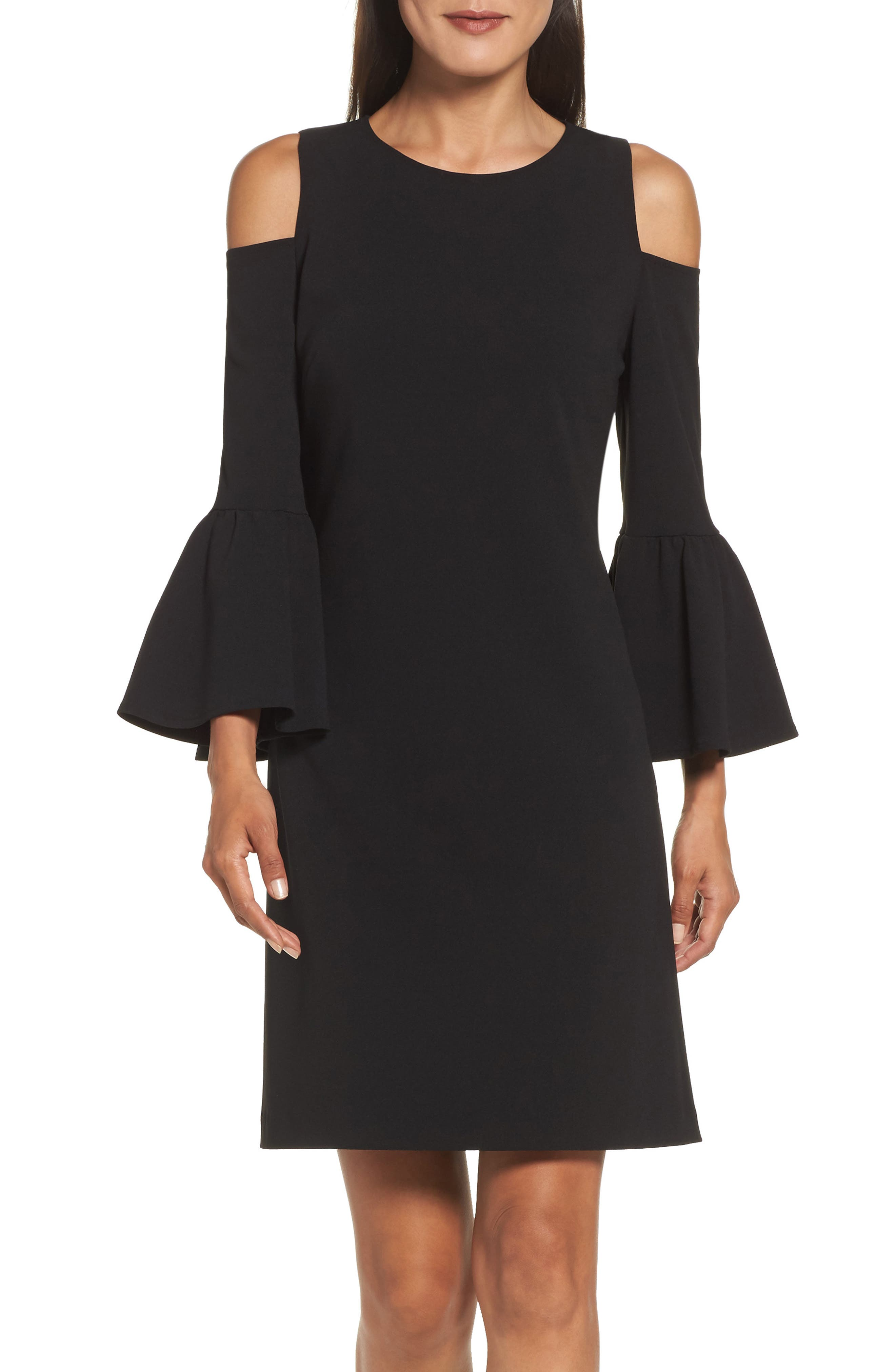ELIZA J Cold Shoulder Crepe Dress