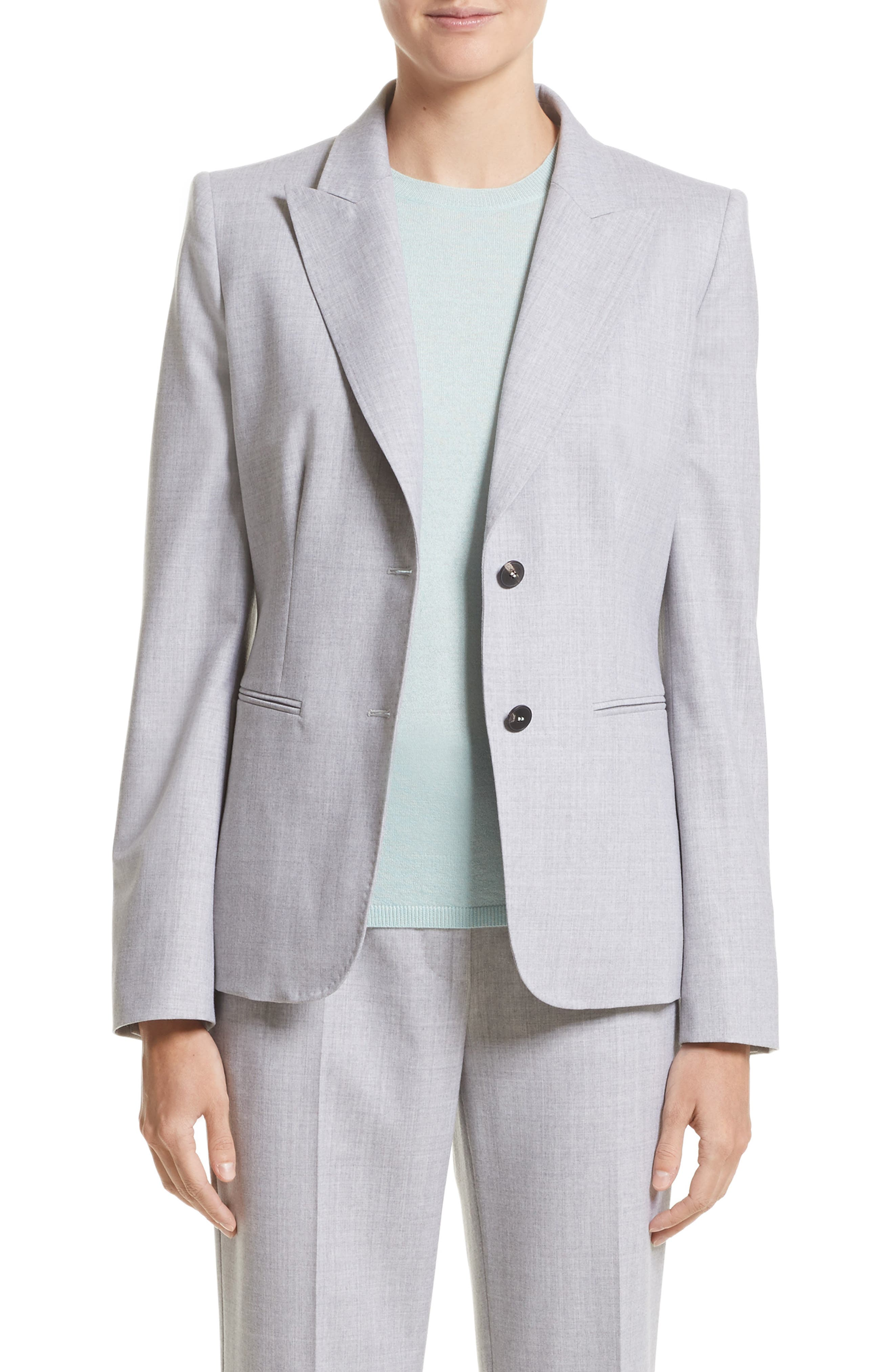 Stretch Wool Jacket,                         Main,                         color, Light Grey