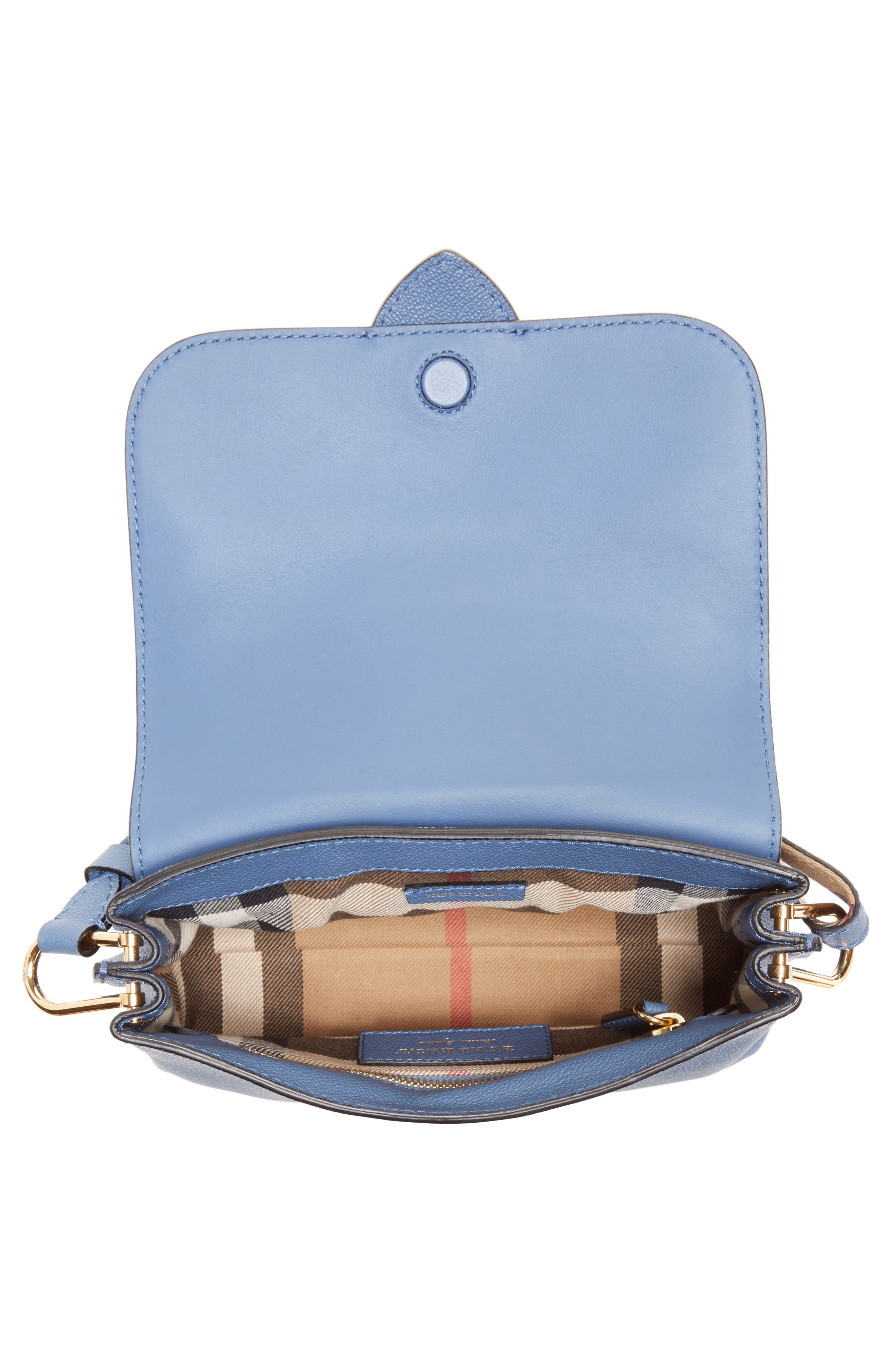 Small Buckle Leather Crossbody Bag,                             Alternate thumbnail 4, color,                             Slate Blue