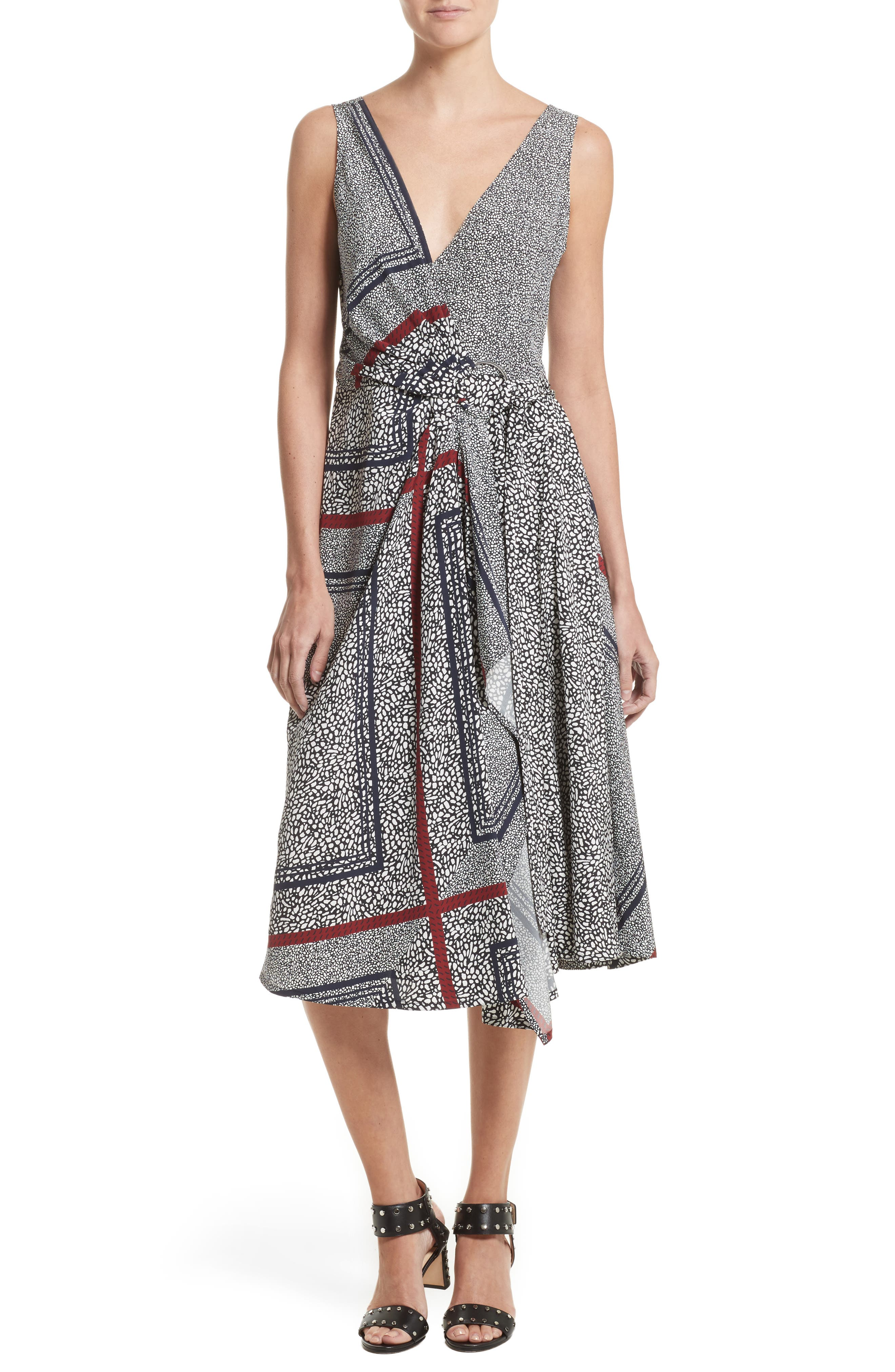 Derek Lam 10 Crosby Print Pleated Silk Wrap Dress
