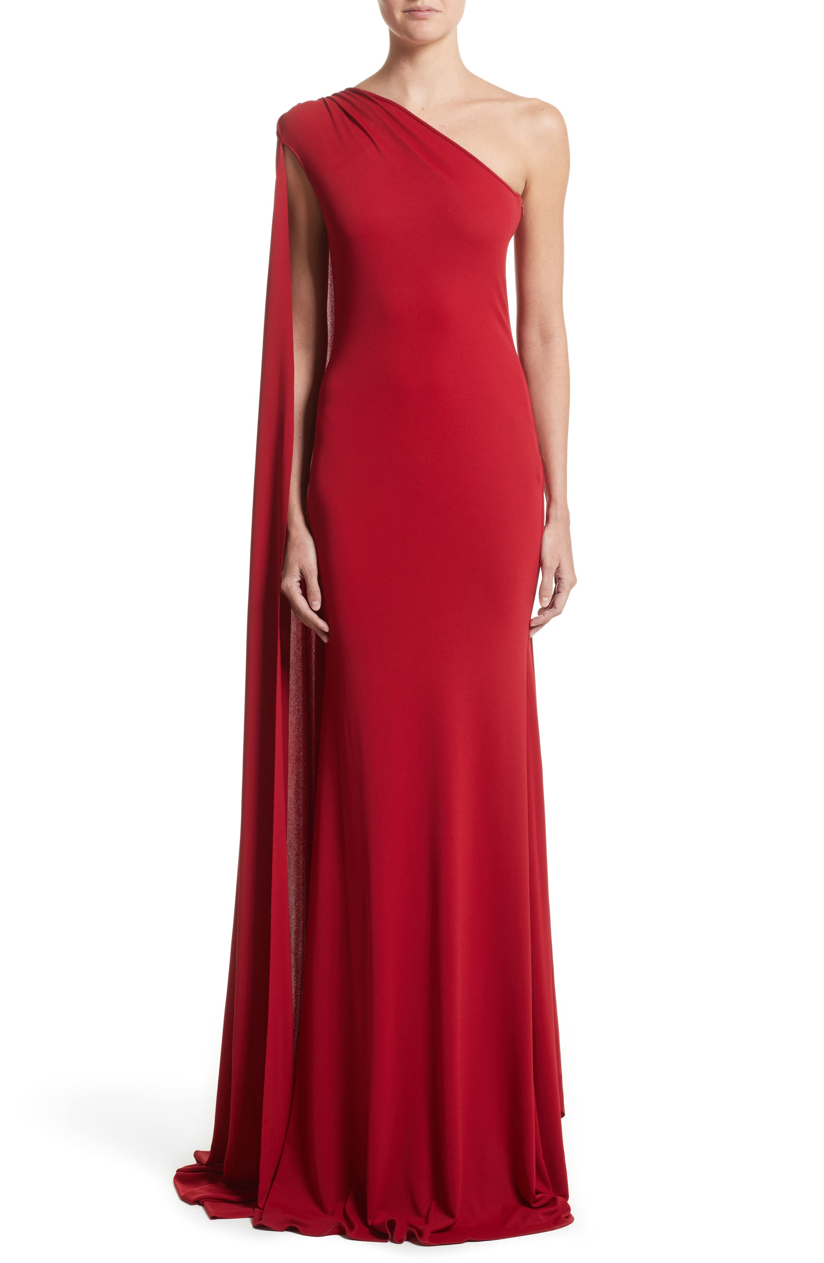 One-Shoulder Stretch Jersey Gown,                         Main,                         color, Red
