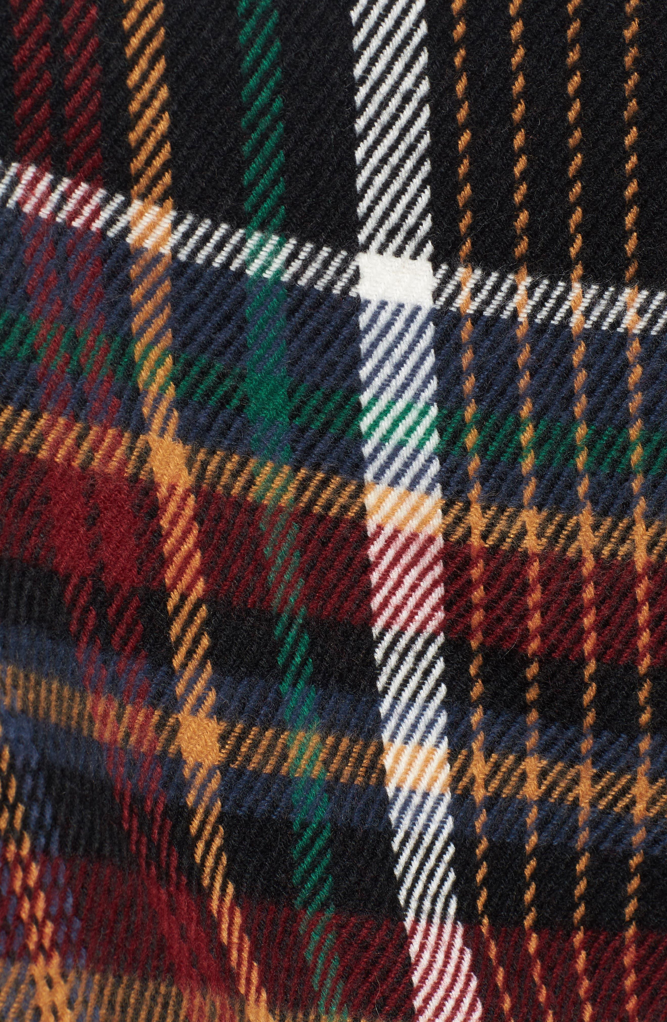 Plaid Fringe Cape,                             Alternate thumbnail 6, color,                             Black Combo