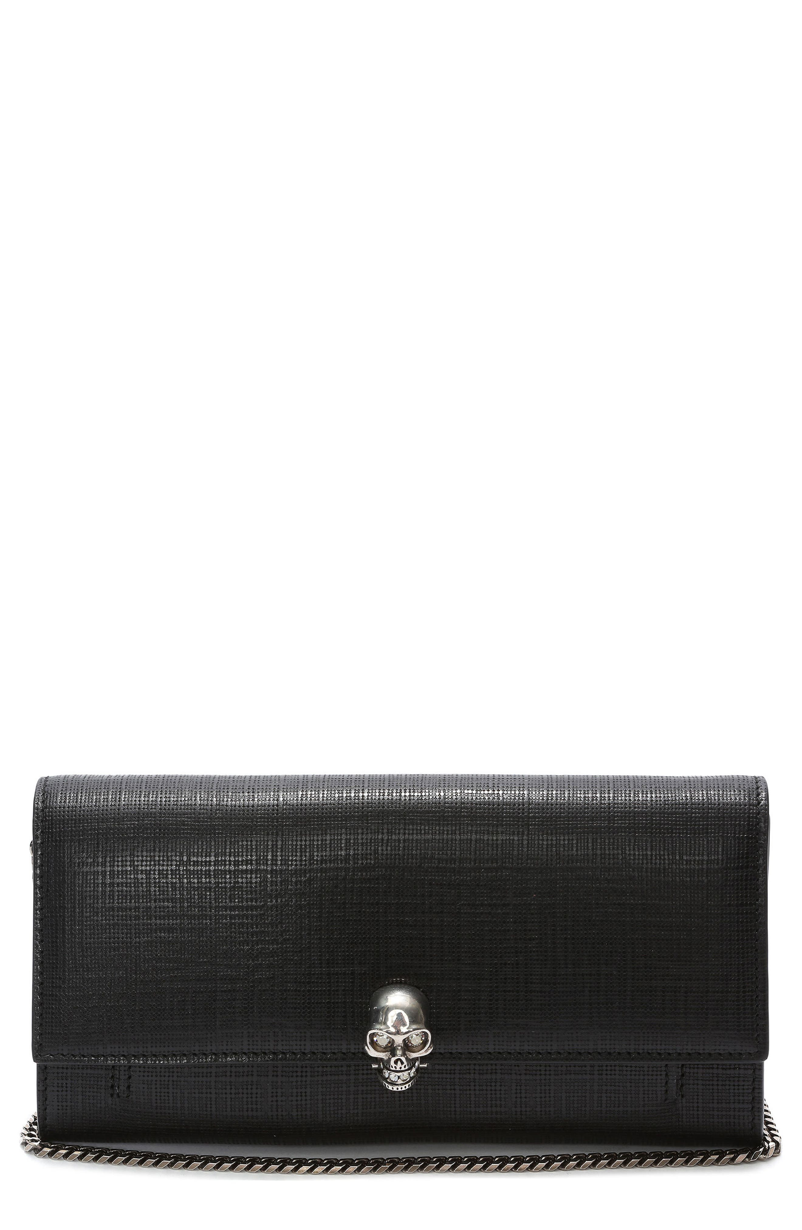 Alexander McQueen Embossed Leather Wallet on a Chain