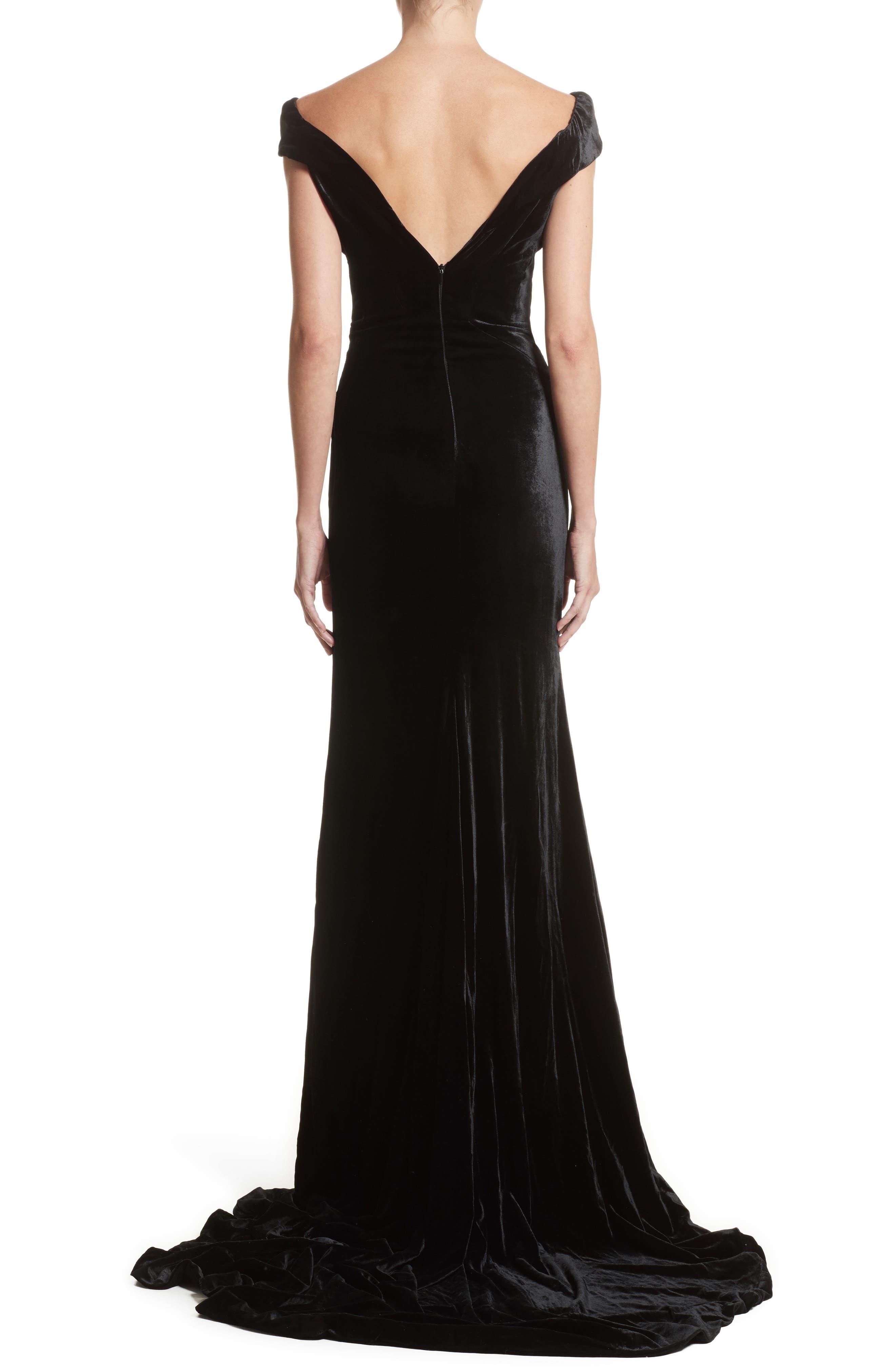 Alternate Image 2  - Rachel Gilbert Violetta Velvet Off the Shoulder Gown