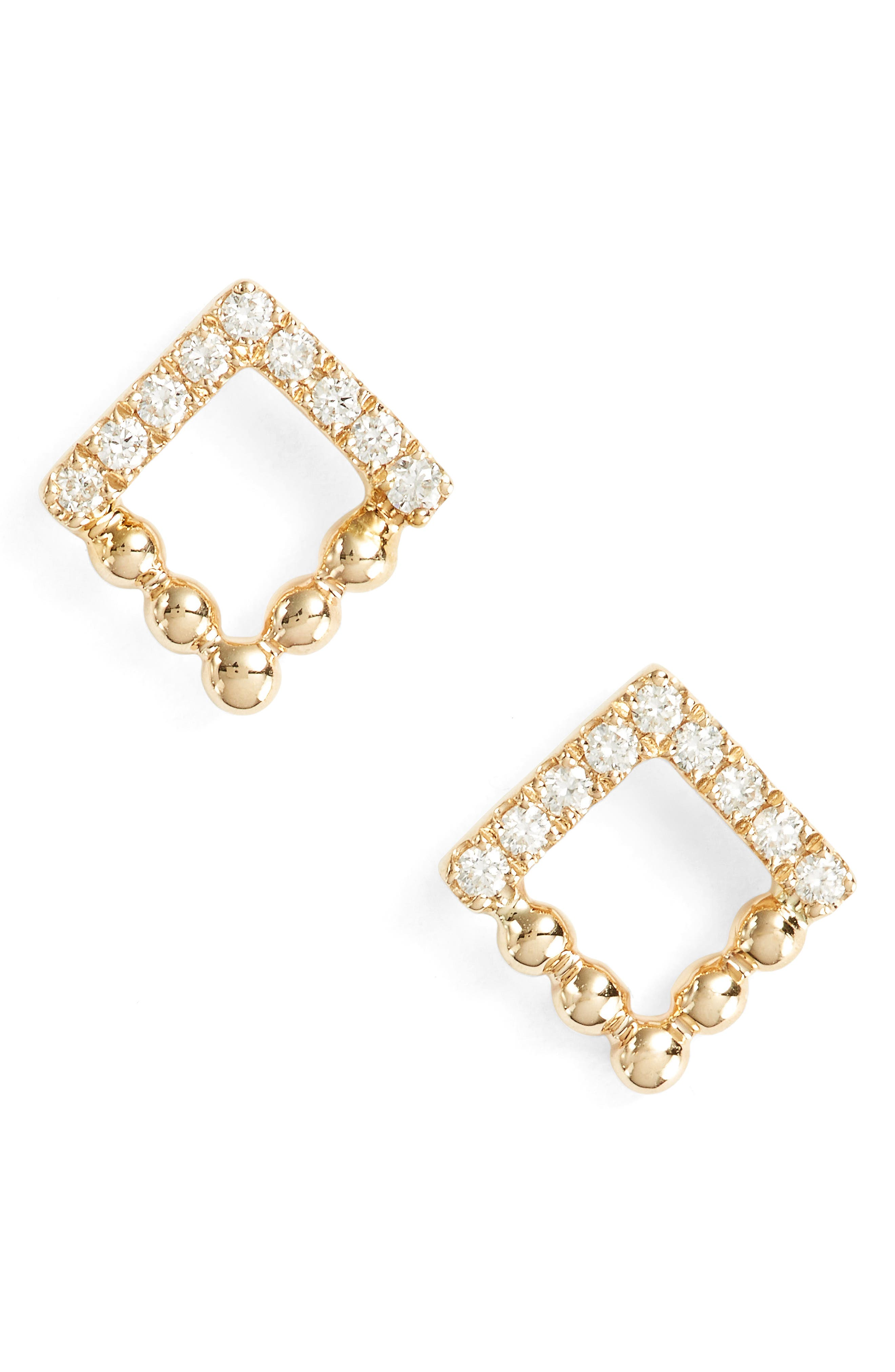 Poppy Rae Square Diamond Stud Earrings,                         Main,                         color, Yellow Gold