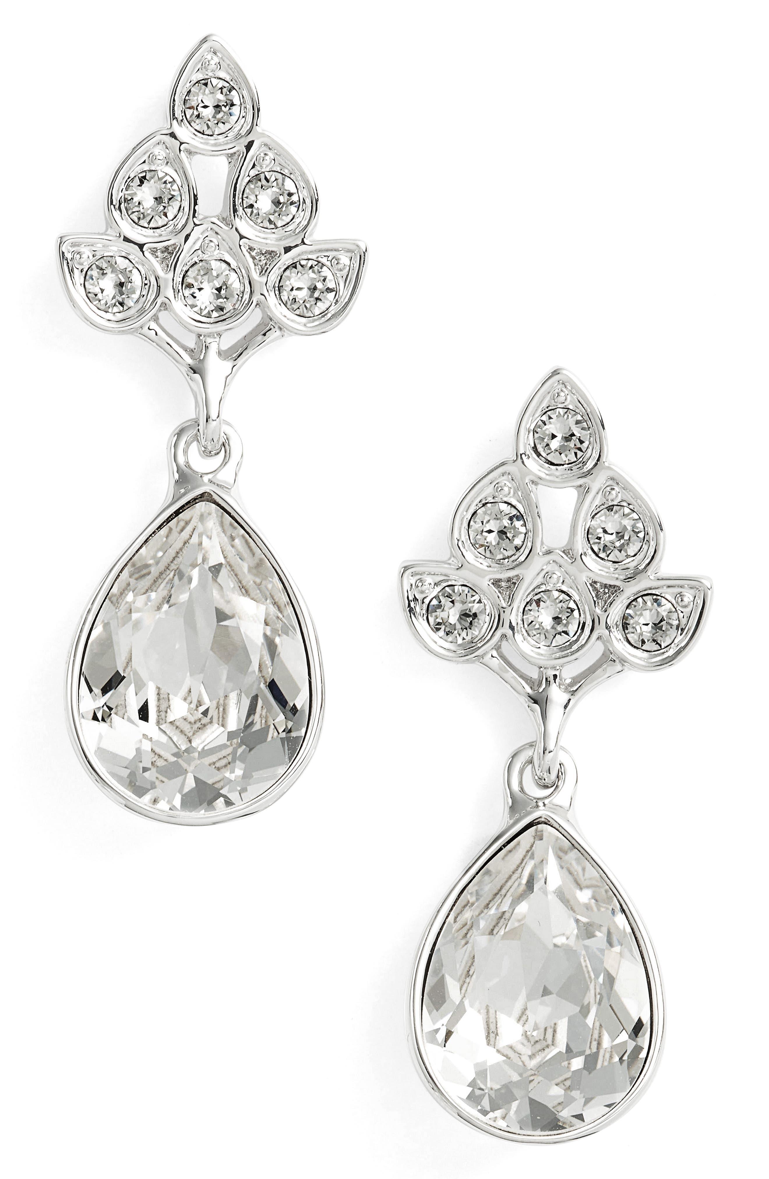 Nina Art Nouveau Double Drop Crystal Earrings