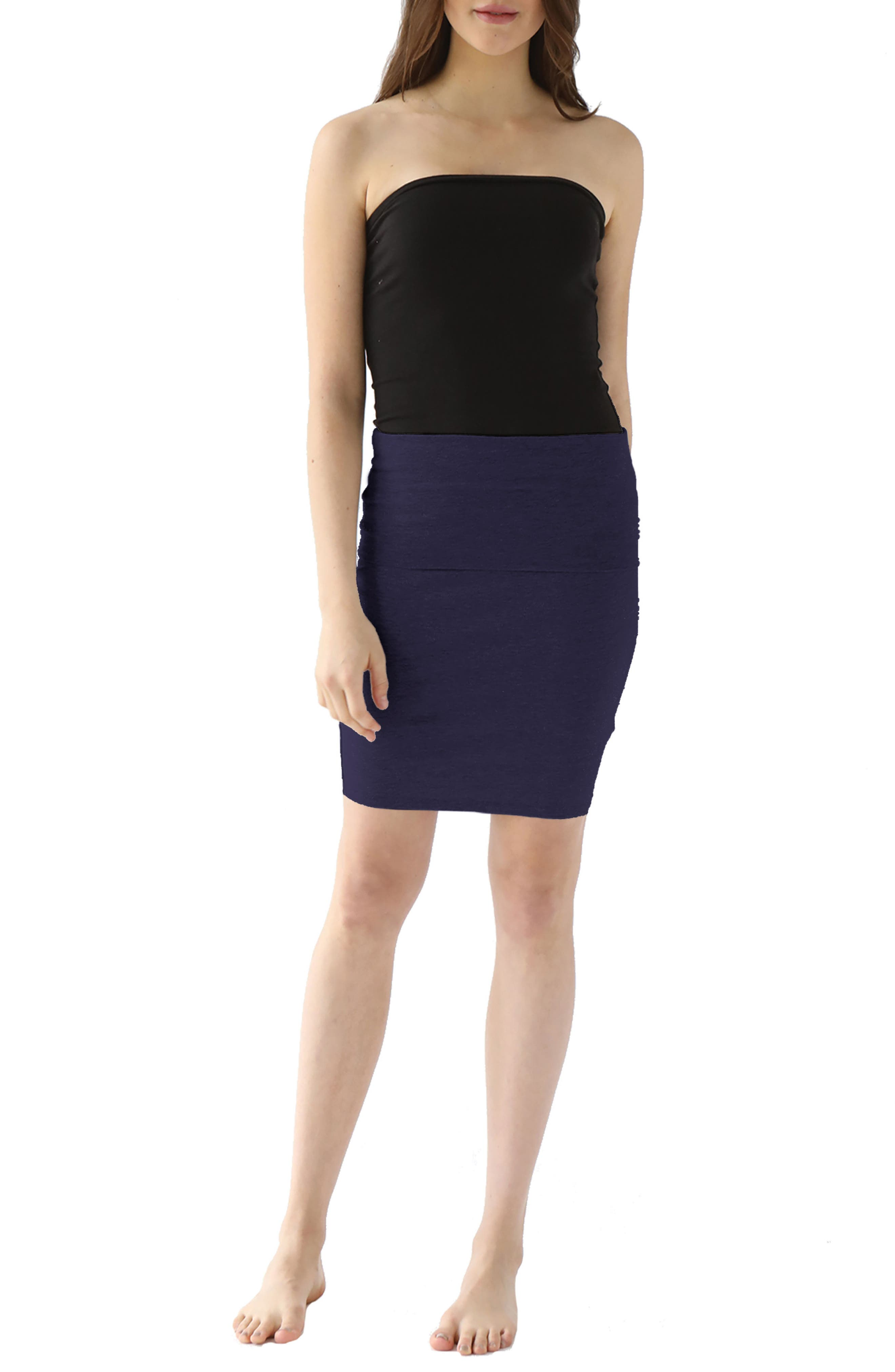 Trina Foldover Stretch Cotton Skirt,                             Main thumbnail 1, color,                             Midnight