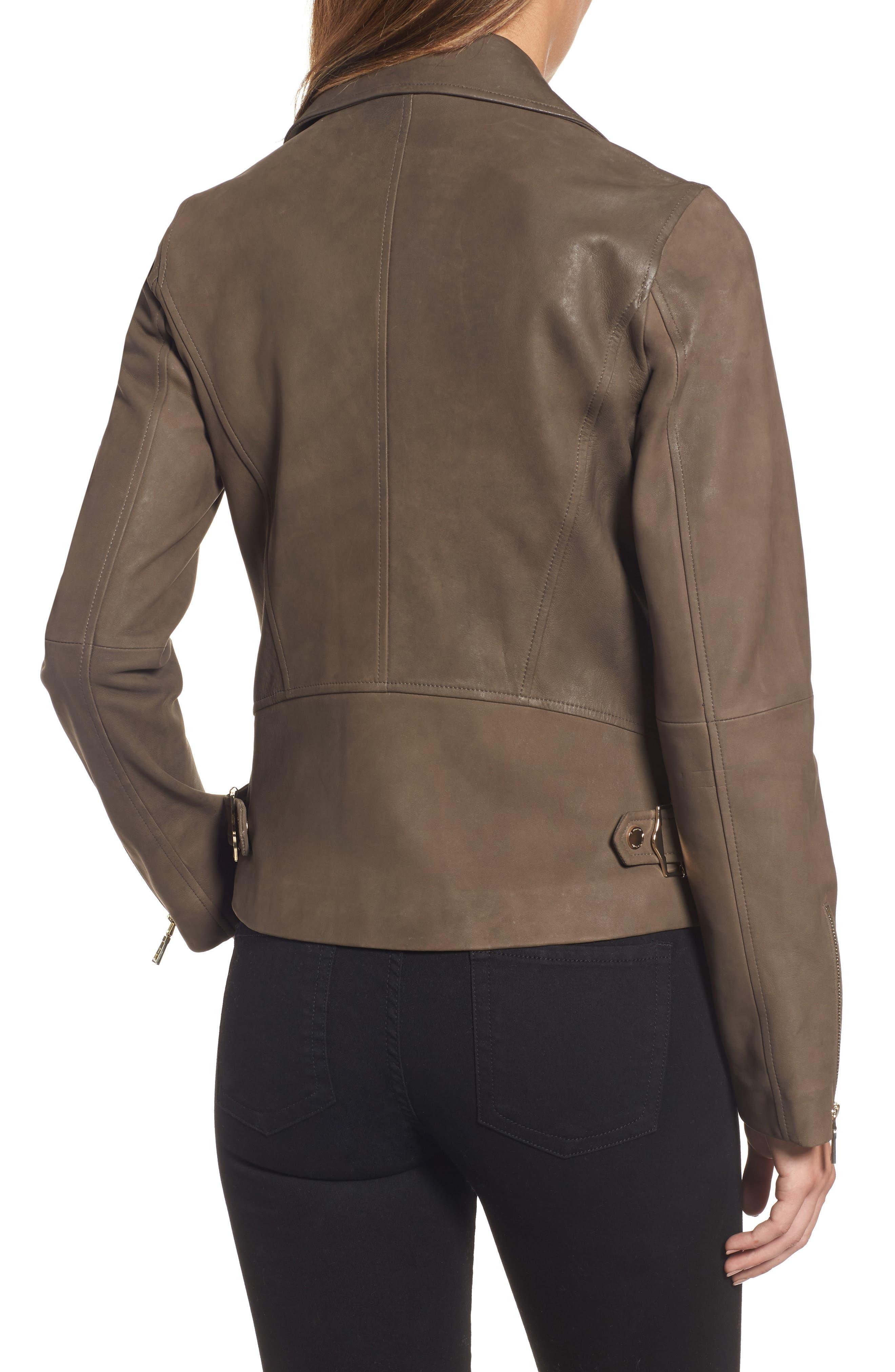 Alternate Image 2  - Tahari Skylar Leather Moto Jacket