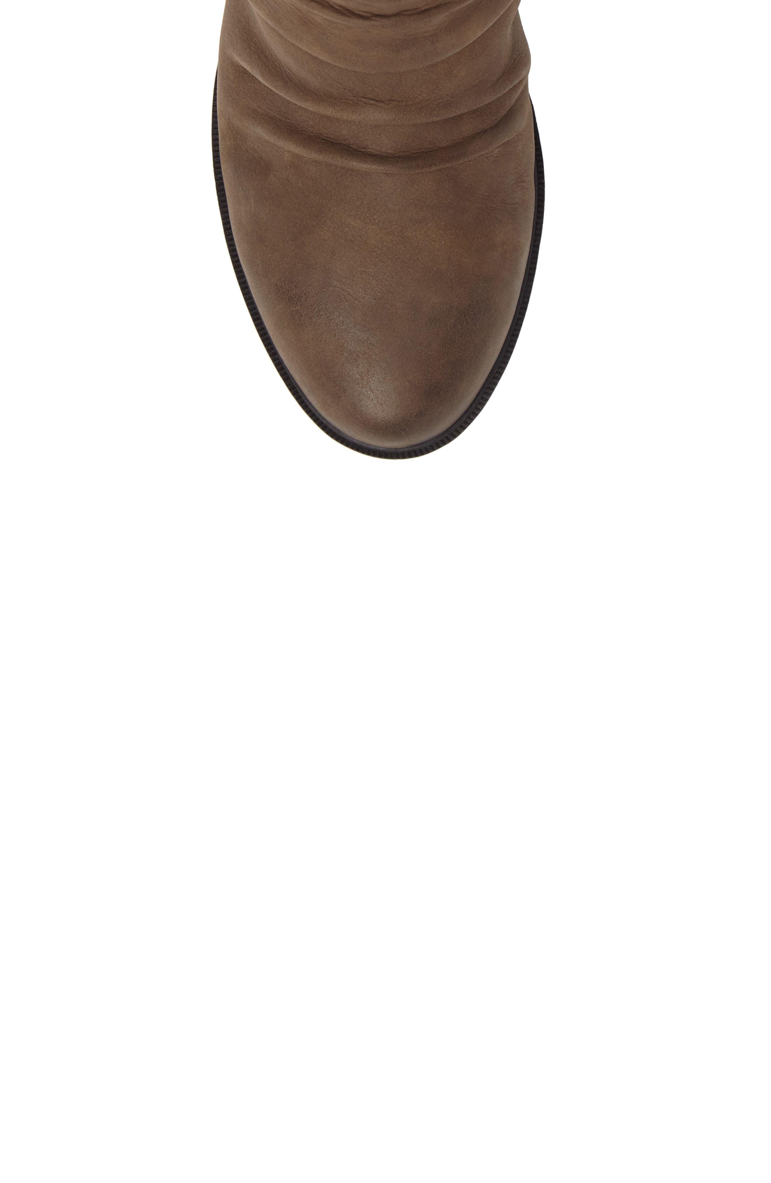 Natashya Slouchy Block Heel Bootie,                             Alternate thumbnail 5, color,                             Stone Nubuck
