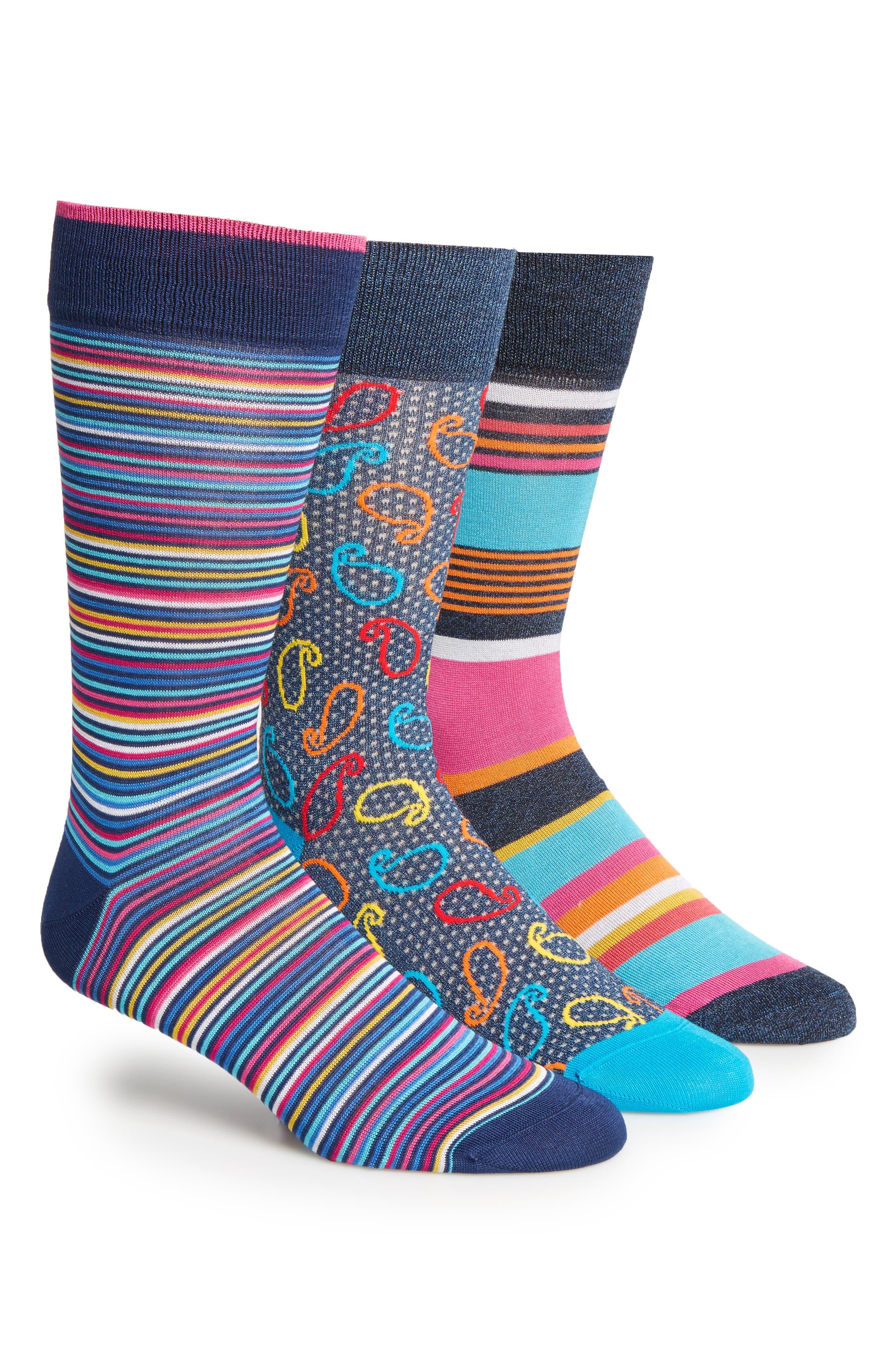 3-Pack Cotton Blend Socks,                         Main,                         color, Navy Glasses/ Blue Stripe