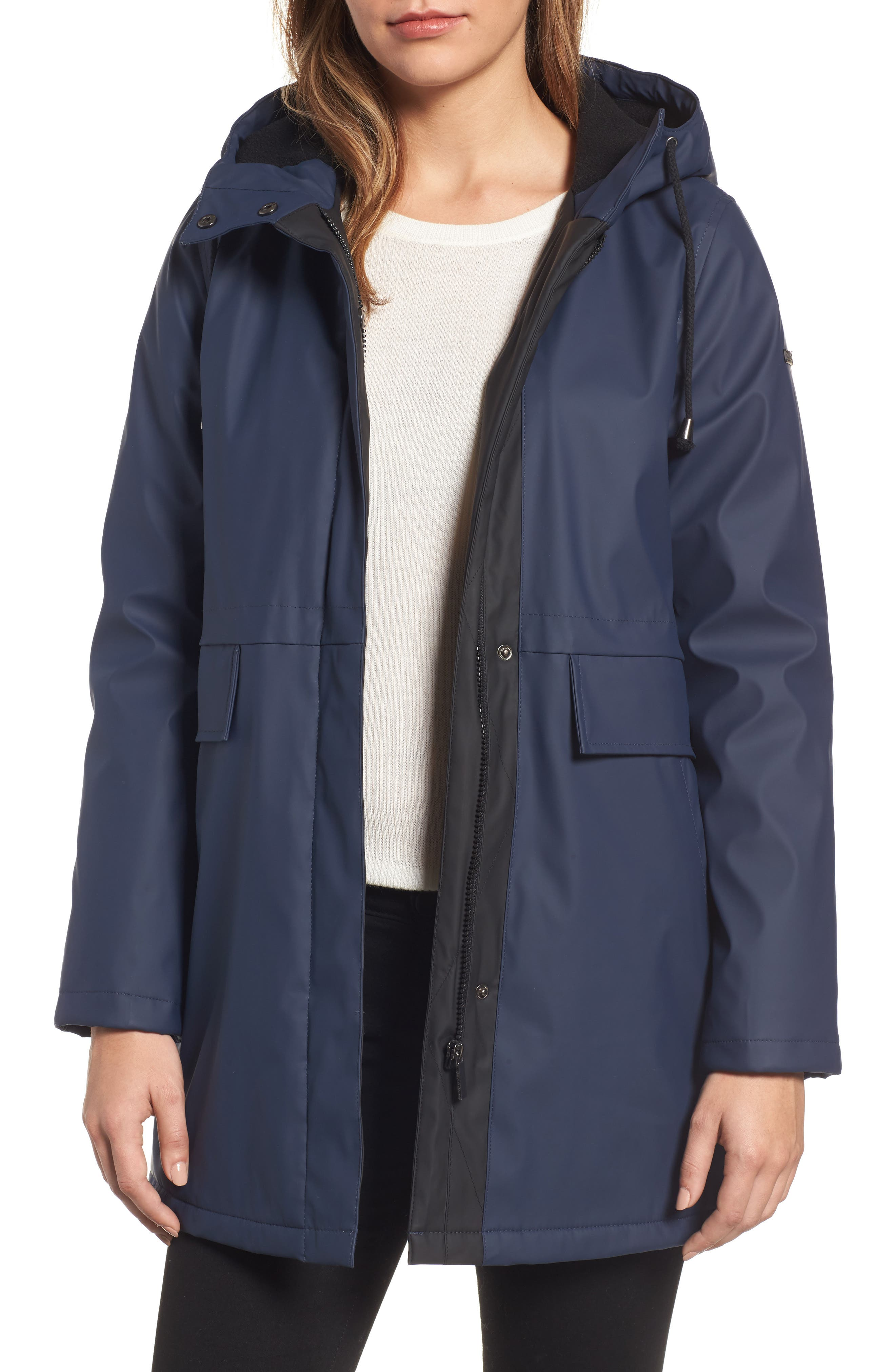 FRENCH CONNECTION Zip Front Hooded Slicker