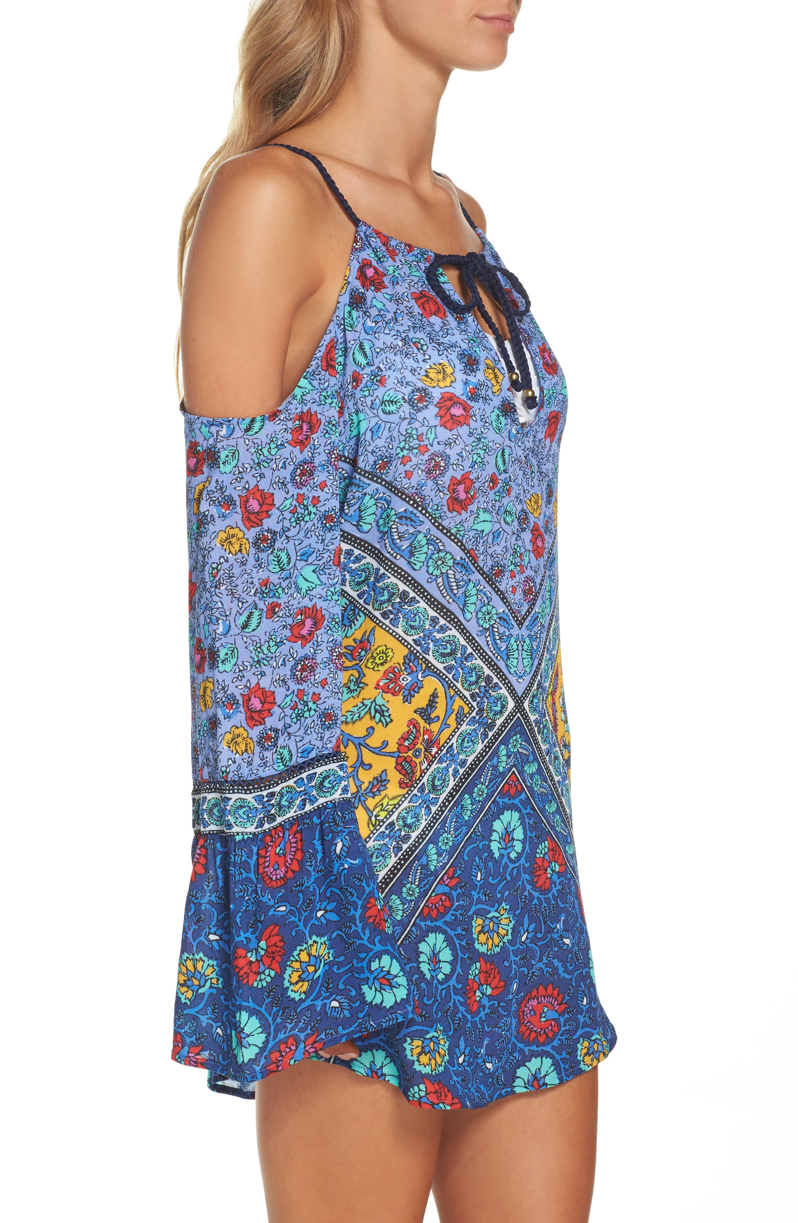 Woodstock Cold Shoulder Cover-Up Tunic,                             Alternate thumbnail 3, color,                             Blue Multi