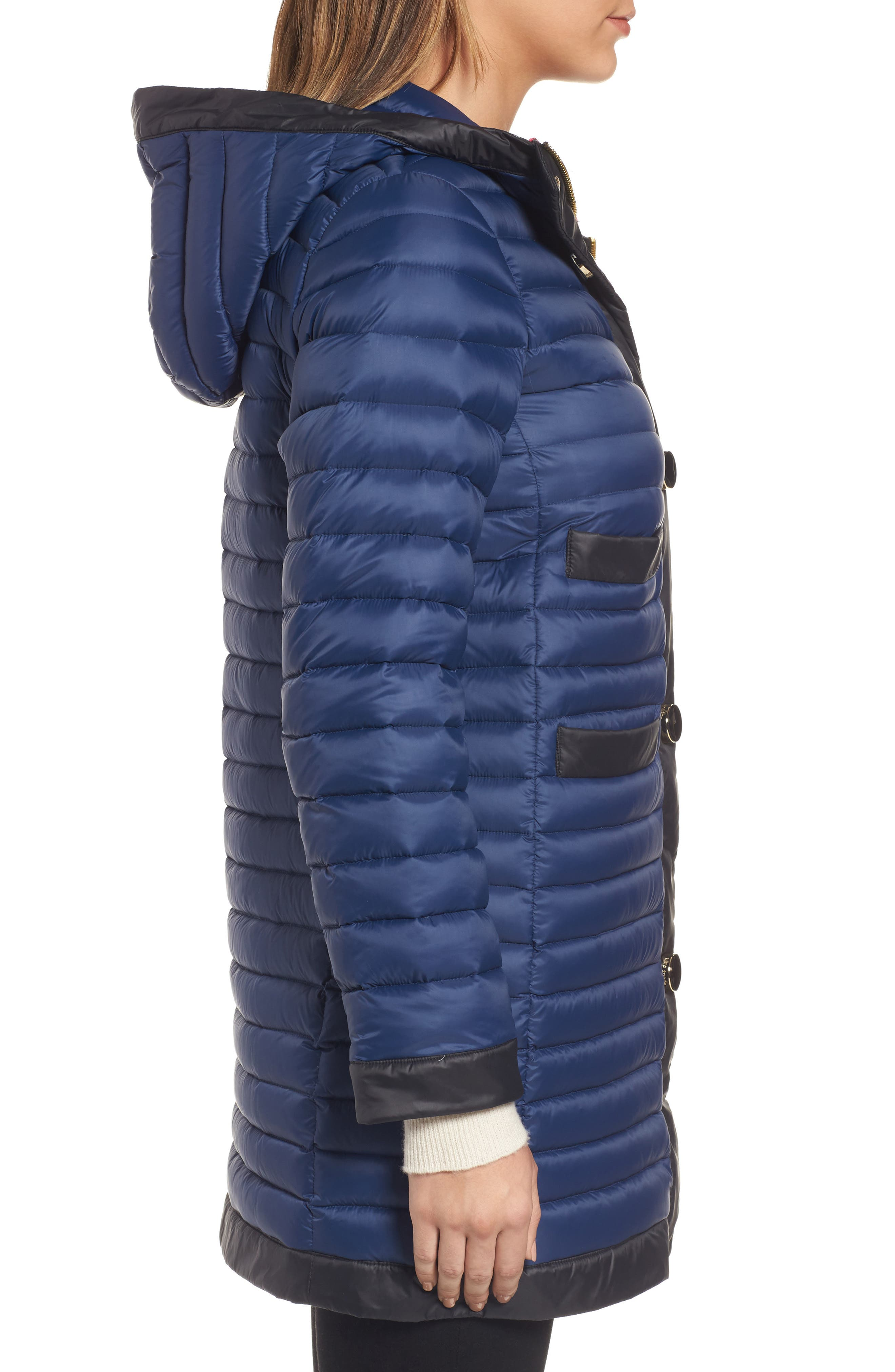 contrast trim hooded puffer coat,                             Alternate thumbnail 3, color,                             Rich Navy/ Black