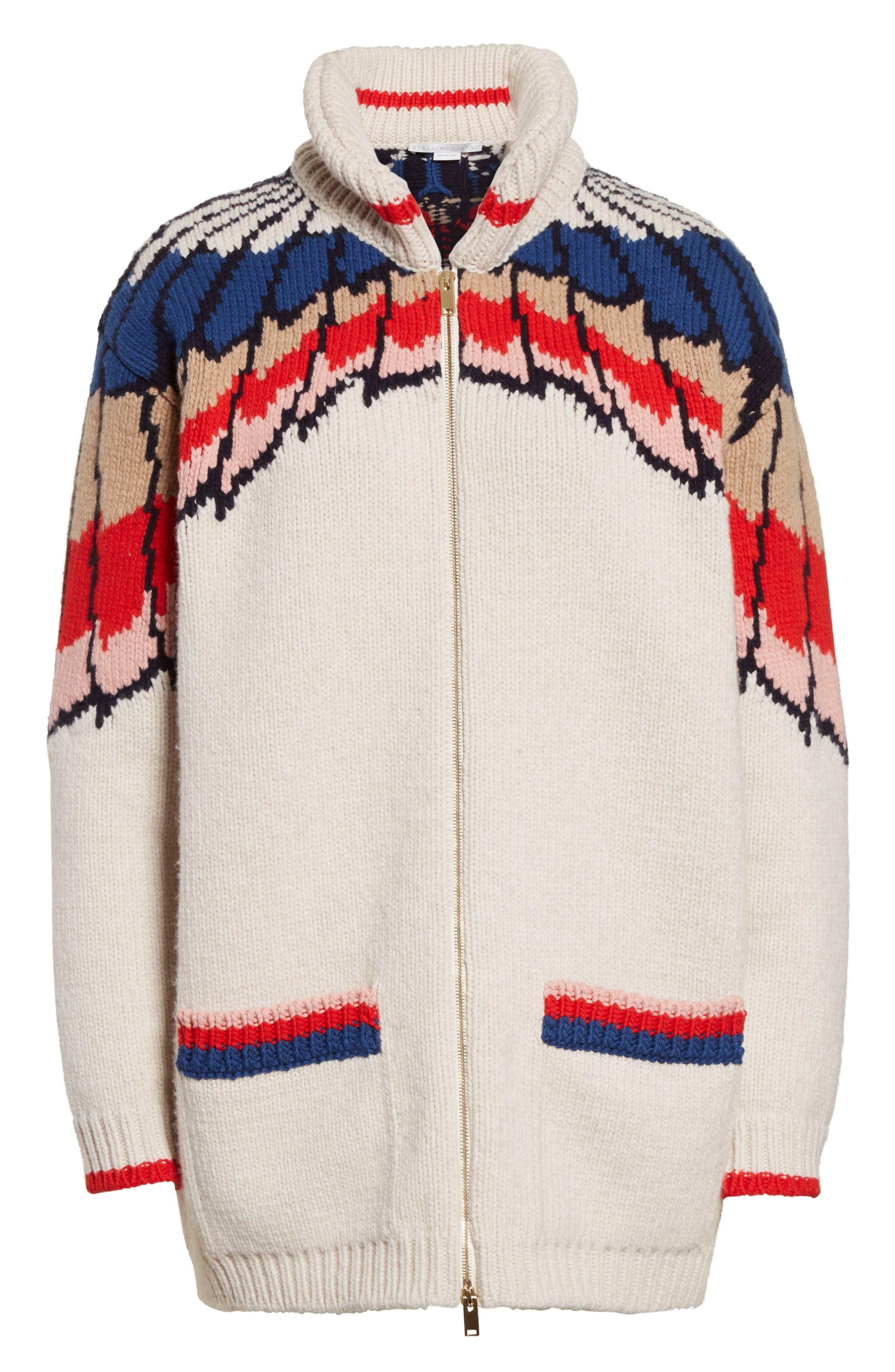 Feather Print Wool Cardigan,                             Alternate thumbnail 6, color,                             Multicolor
