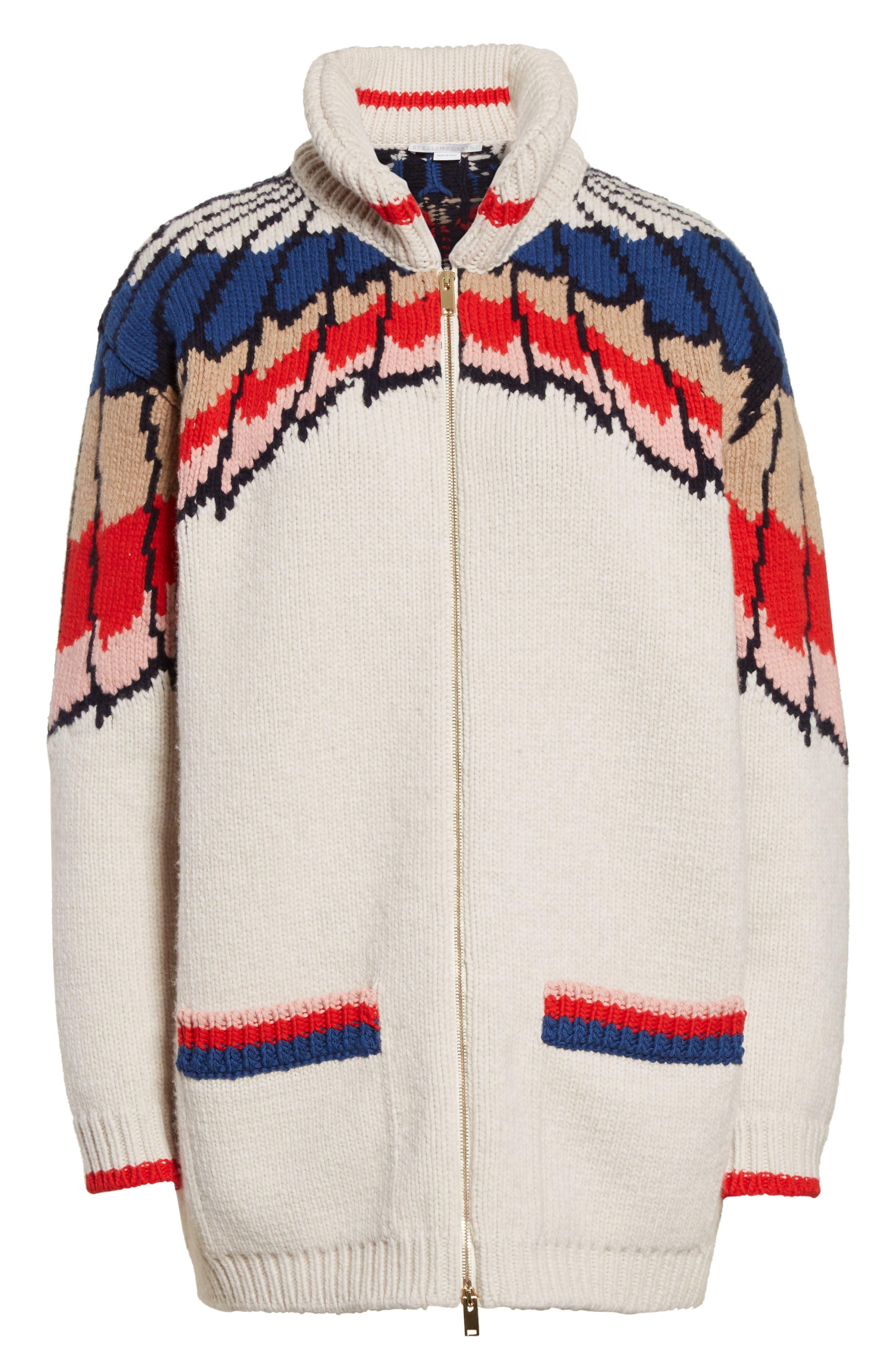 Alternate Image 6  - Stella McCartney Feather Print Wool Cardigan