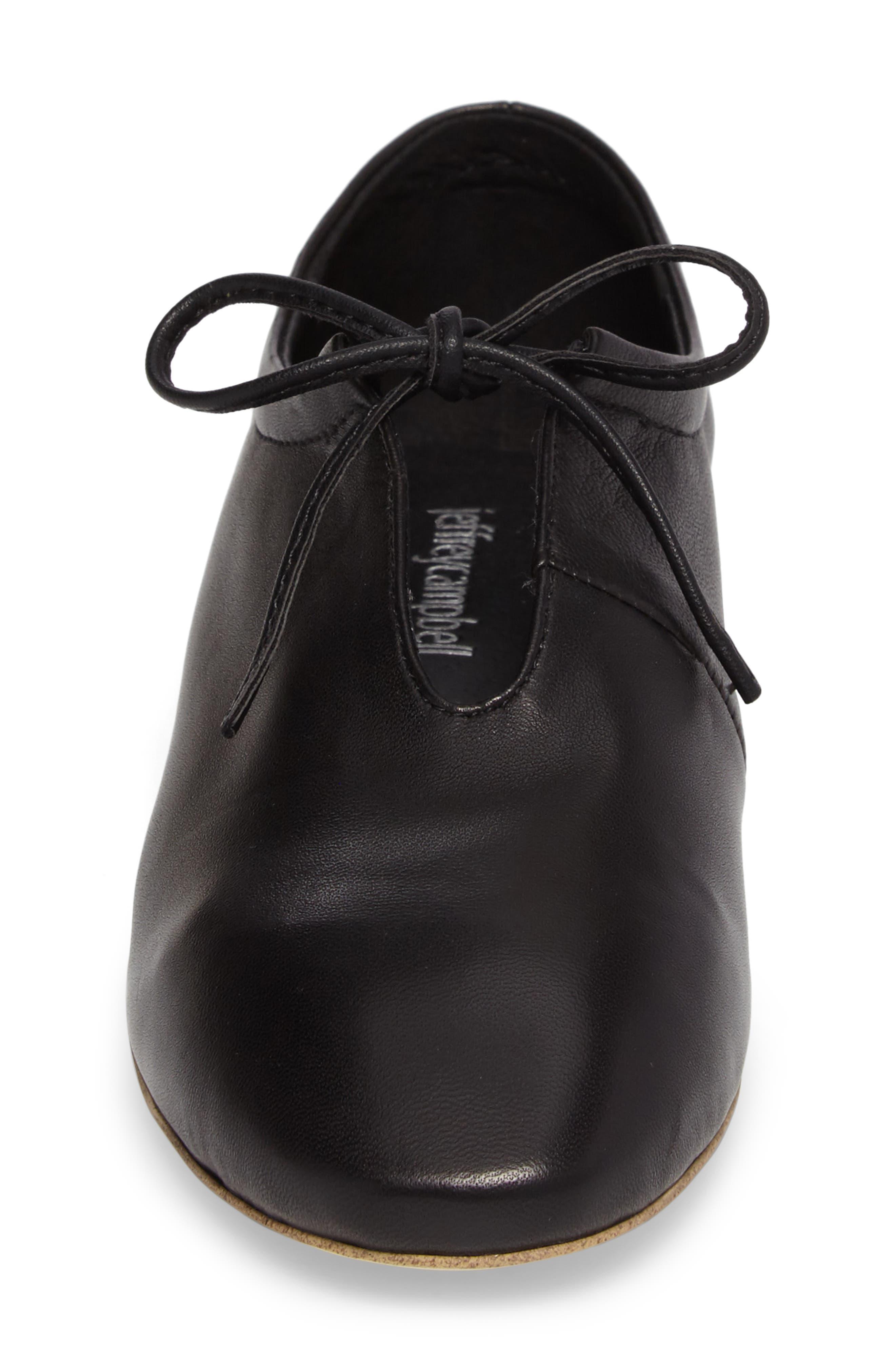 Prieto V-Cut Flat,                             Alternate thumbnail 4, color,                             Black Leather