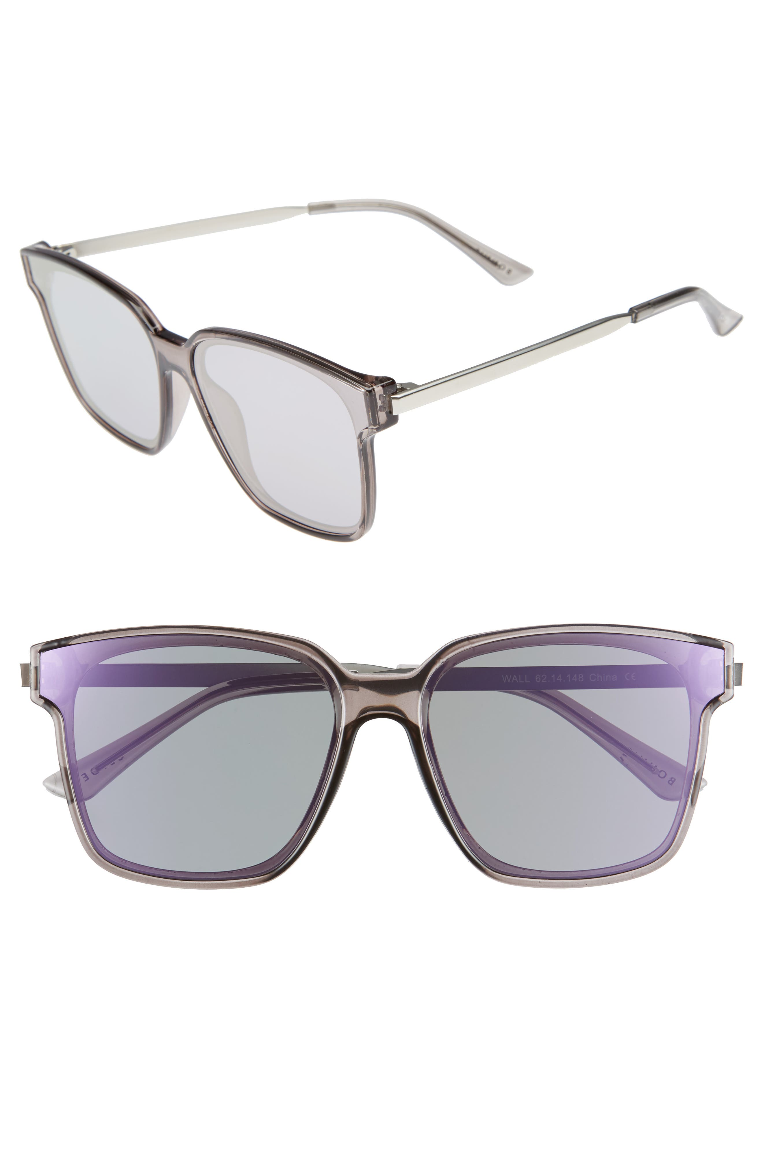 Alternate Image 1 Selected - Bonnie Clyde Wall 62mm Square Mirror Lens Sunglasses
