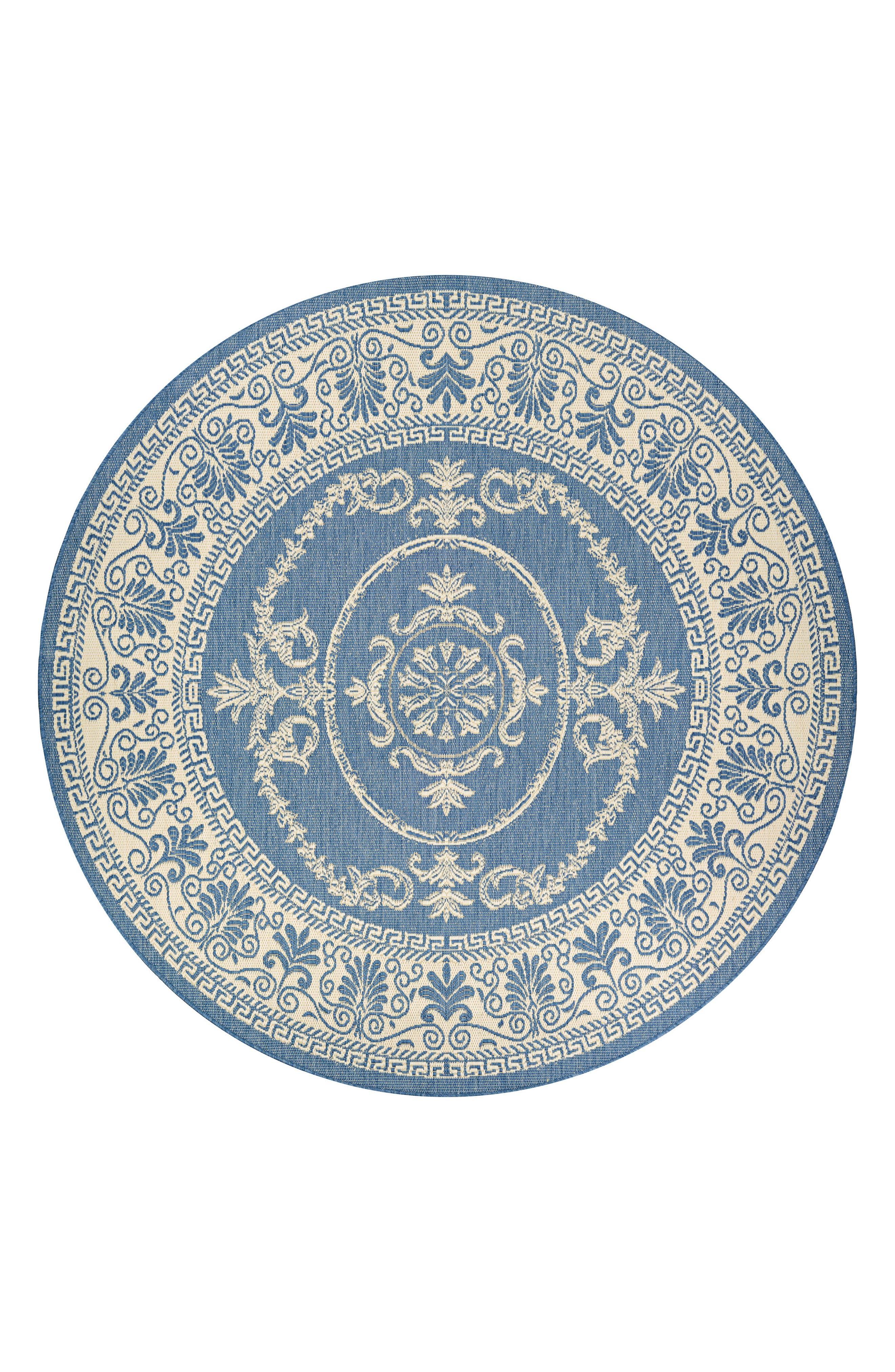 Antique Medallion Indoor/Outdoor Rug,                         Main,                         color, Champagne/ Blue