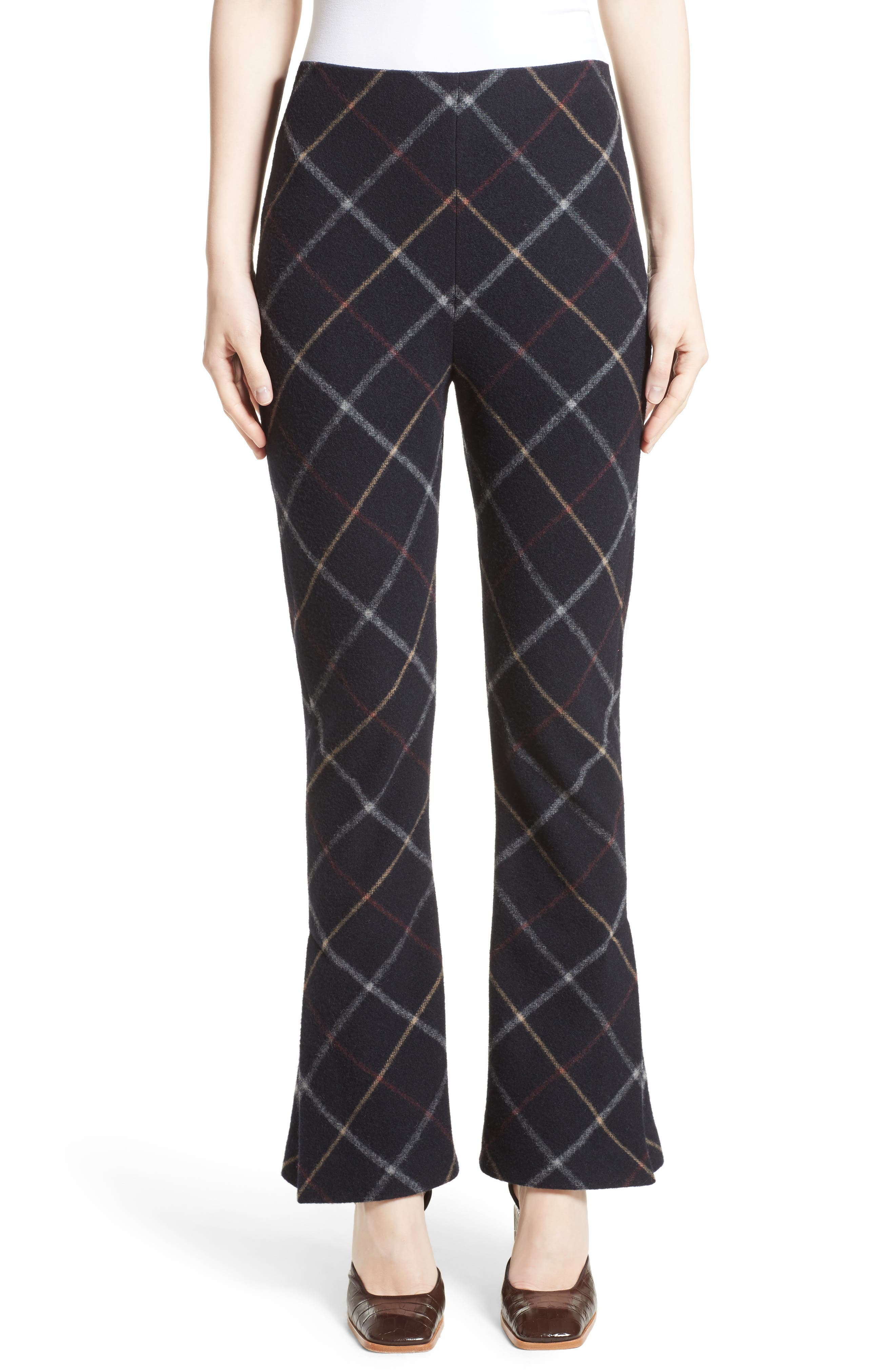 Fitted Crop Flare Pants,                         Main,                         color, Navy