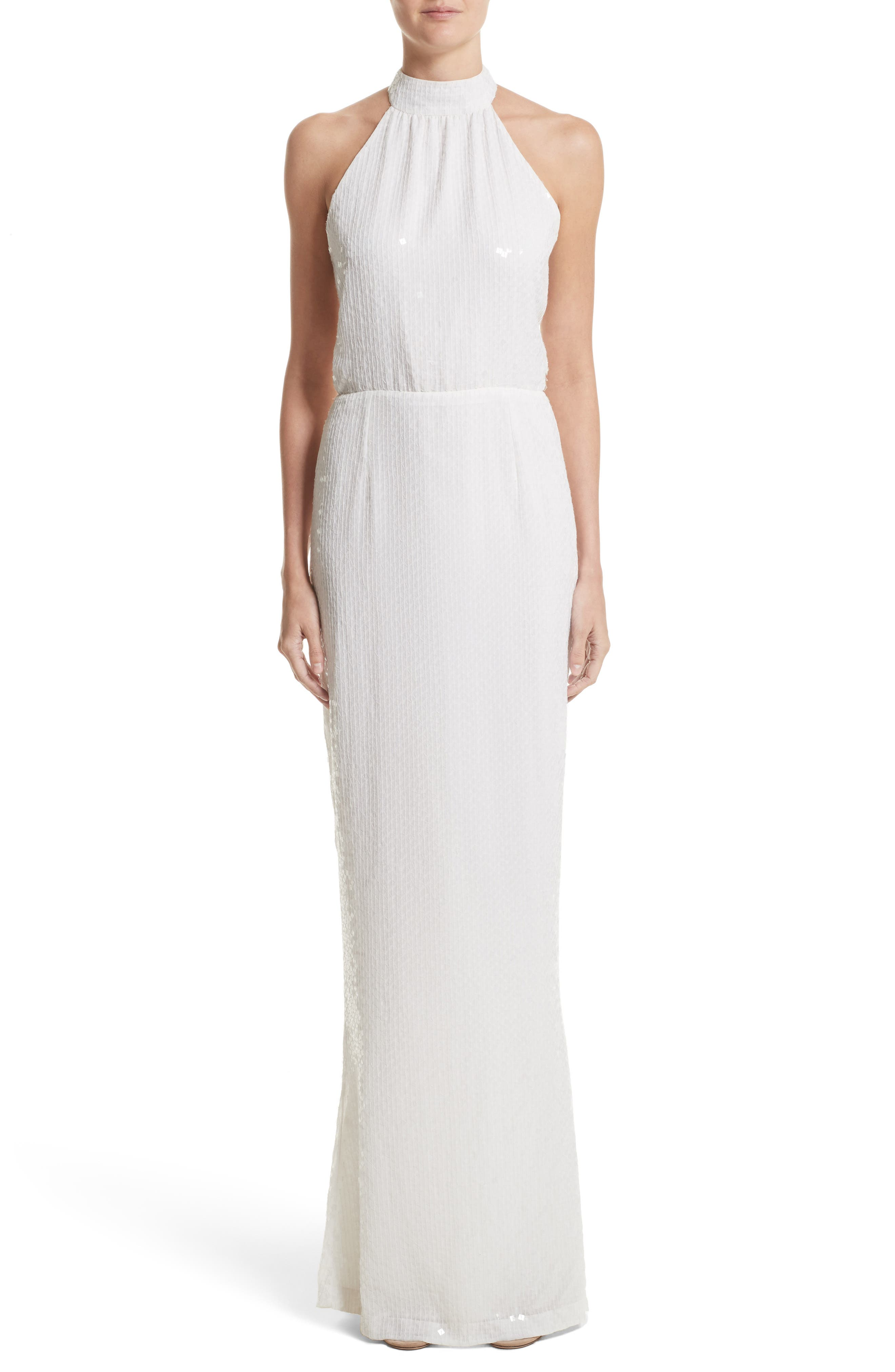Inga Sequin Halter Style Column Gown,                         Main,                         color, Ivory