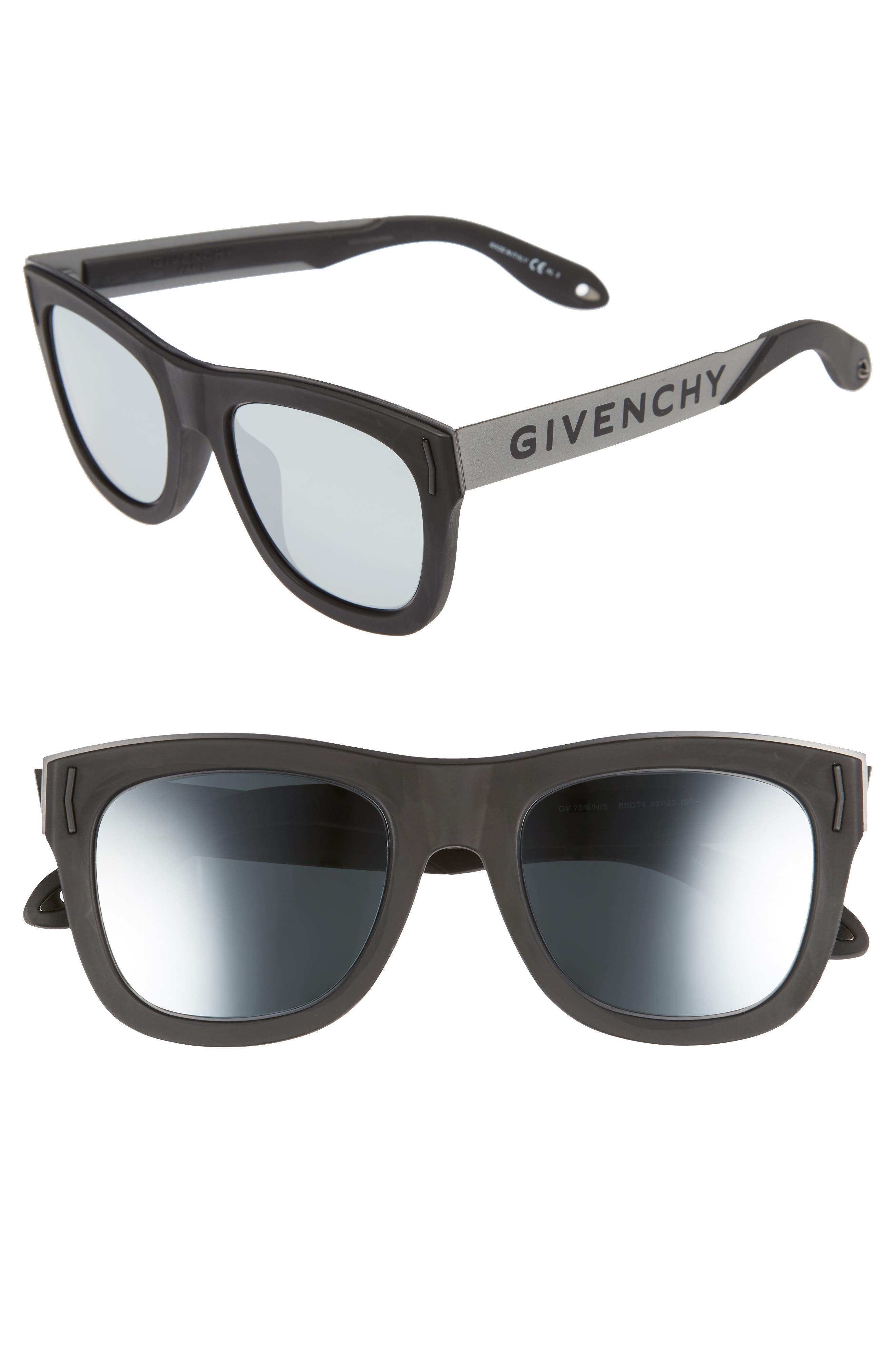 52mm Mirrored Rectangular Sunglasses,                         Main,                         color, Black/ Silver
