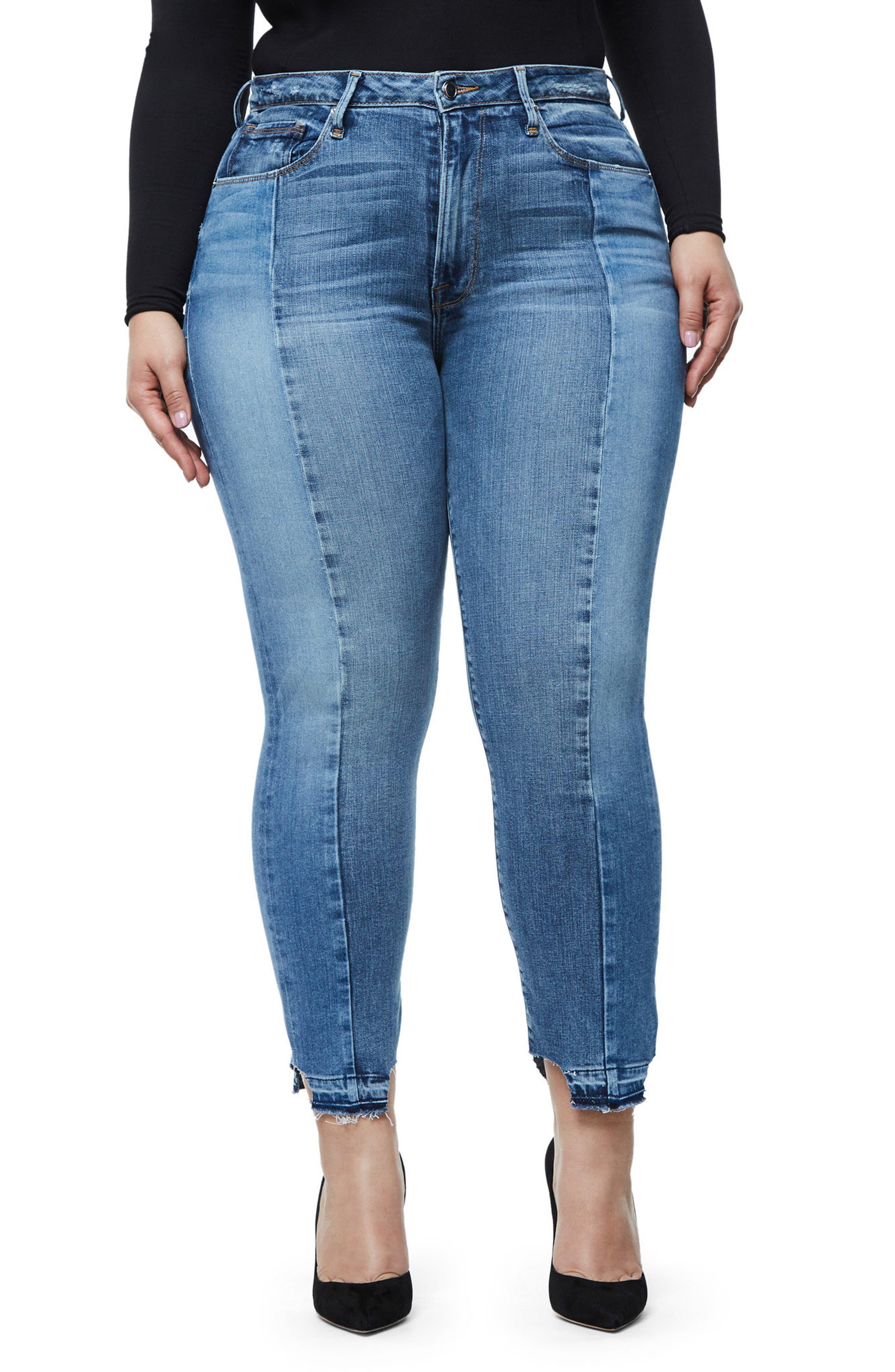 Alternate Image 7  - Good American Raw Hem High Waist Skinny Jeans (Blue 078) (Extended Sizes)