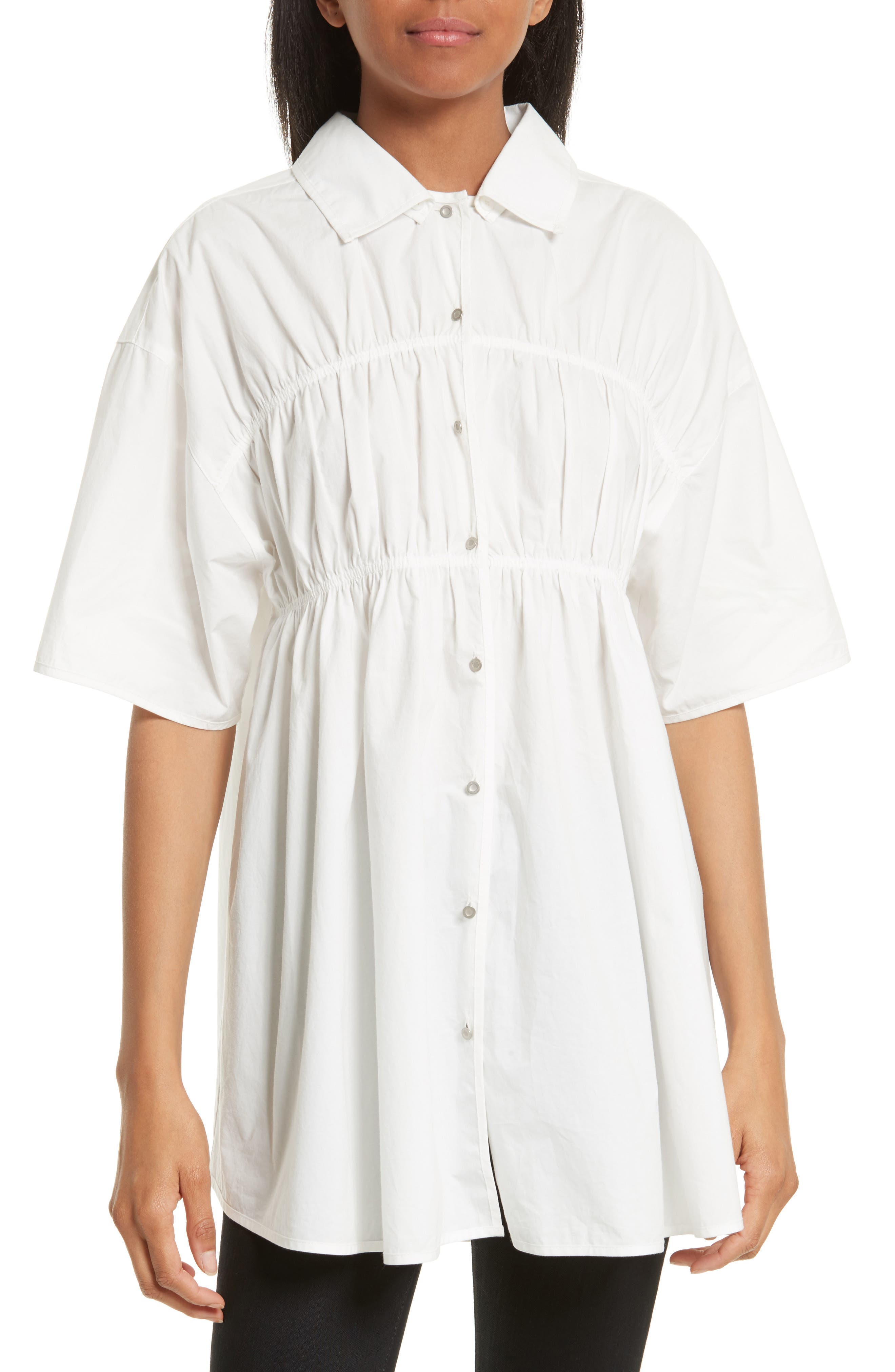 Gathered Poplin Shirt,                         Main,                         color, White