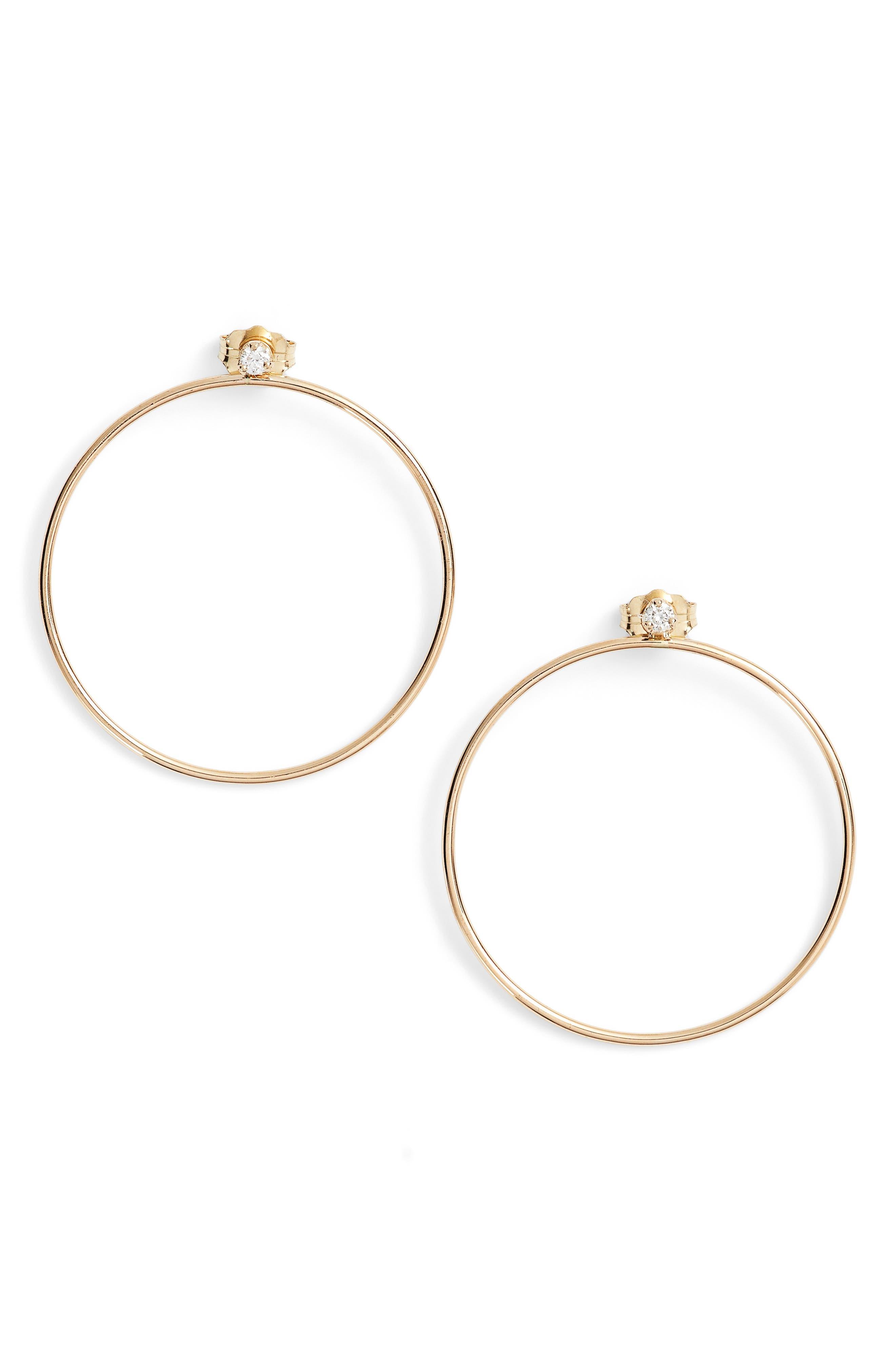 Diamond Circle Ear Jackets,                         Main,                         color, Yellow Gold