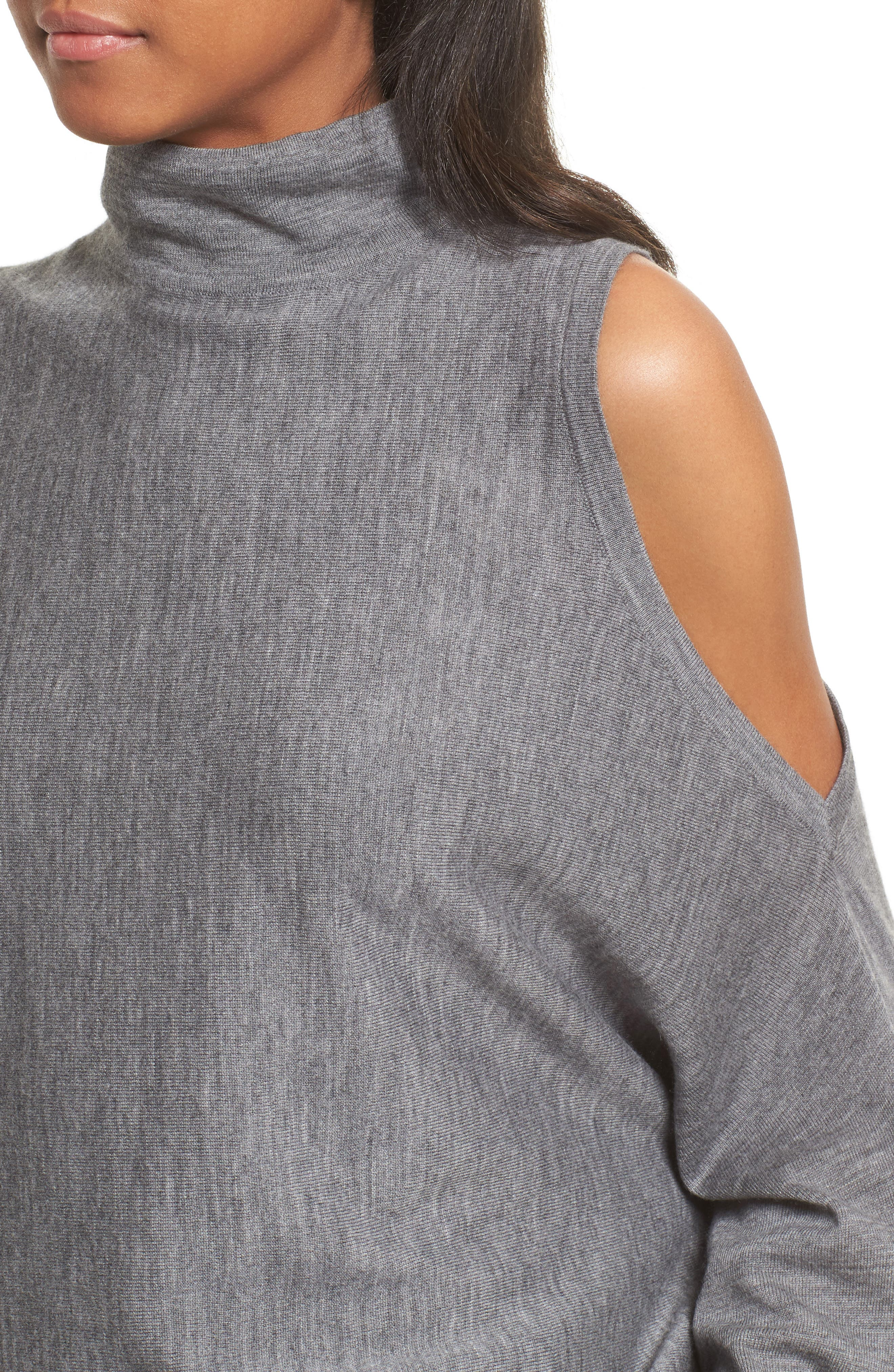 Cold Shoulder Merino Wool Sweater,                             Alternate thumbnail 5, color,                             Heather Grey