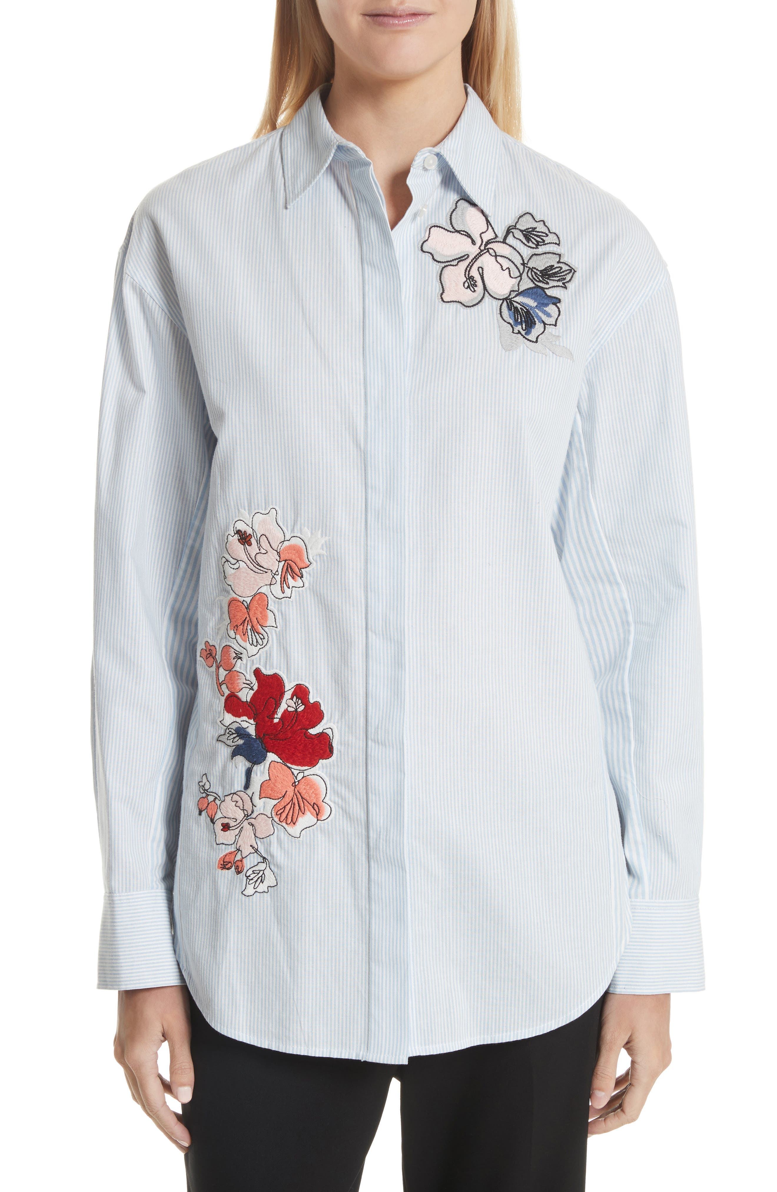 Embroidered Stripe Cotton Shirt,                         Main,                         color, Baby Blue Multi
