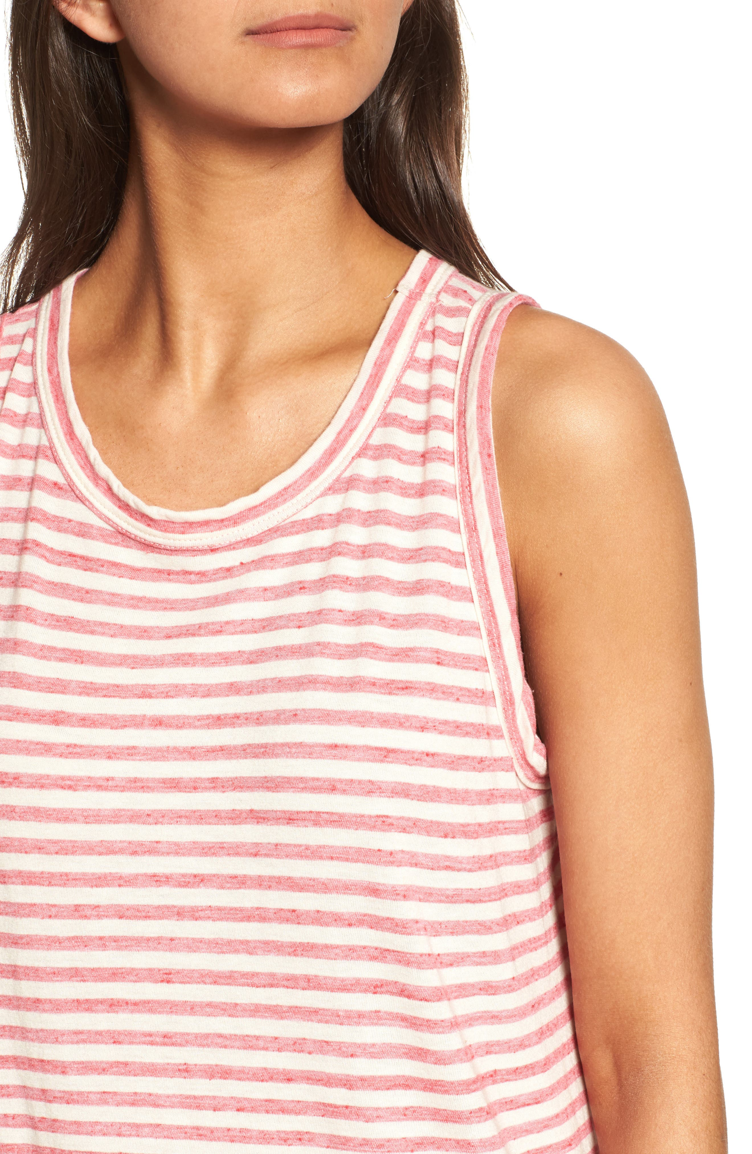 The Muscle Tee Stripe Tank,                             Alternate thumbnail 5, color,                             Red Anchor Stripe