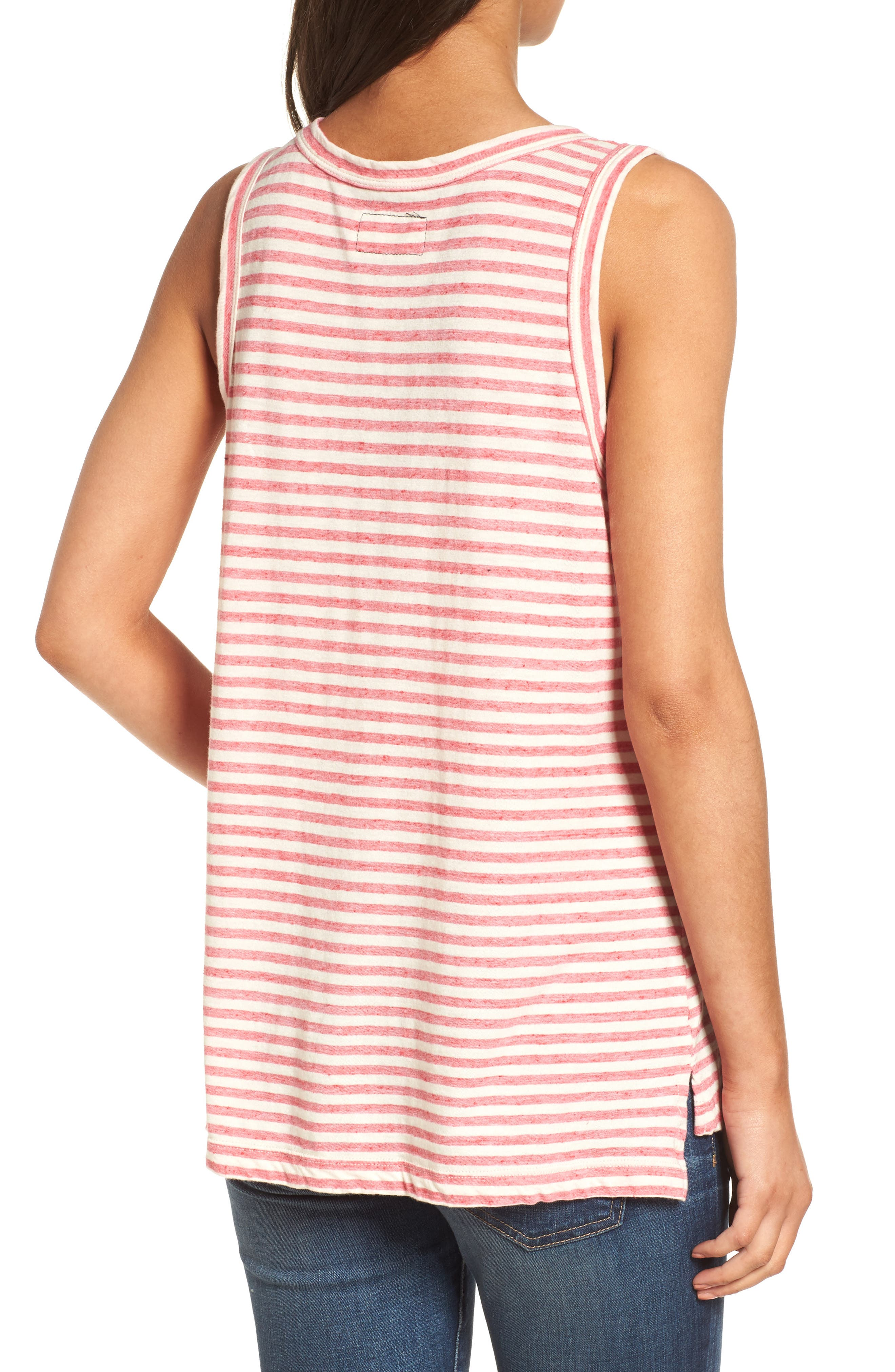 The Muscle Tee Stripe Tank,                             Alternate thumbnail 4, color,                             Red Anchor Stripe