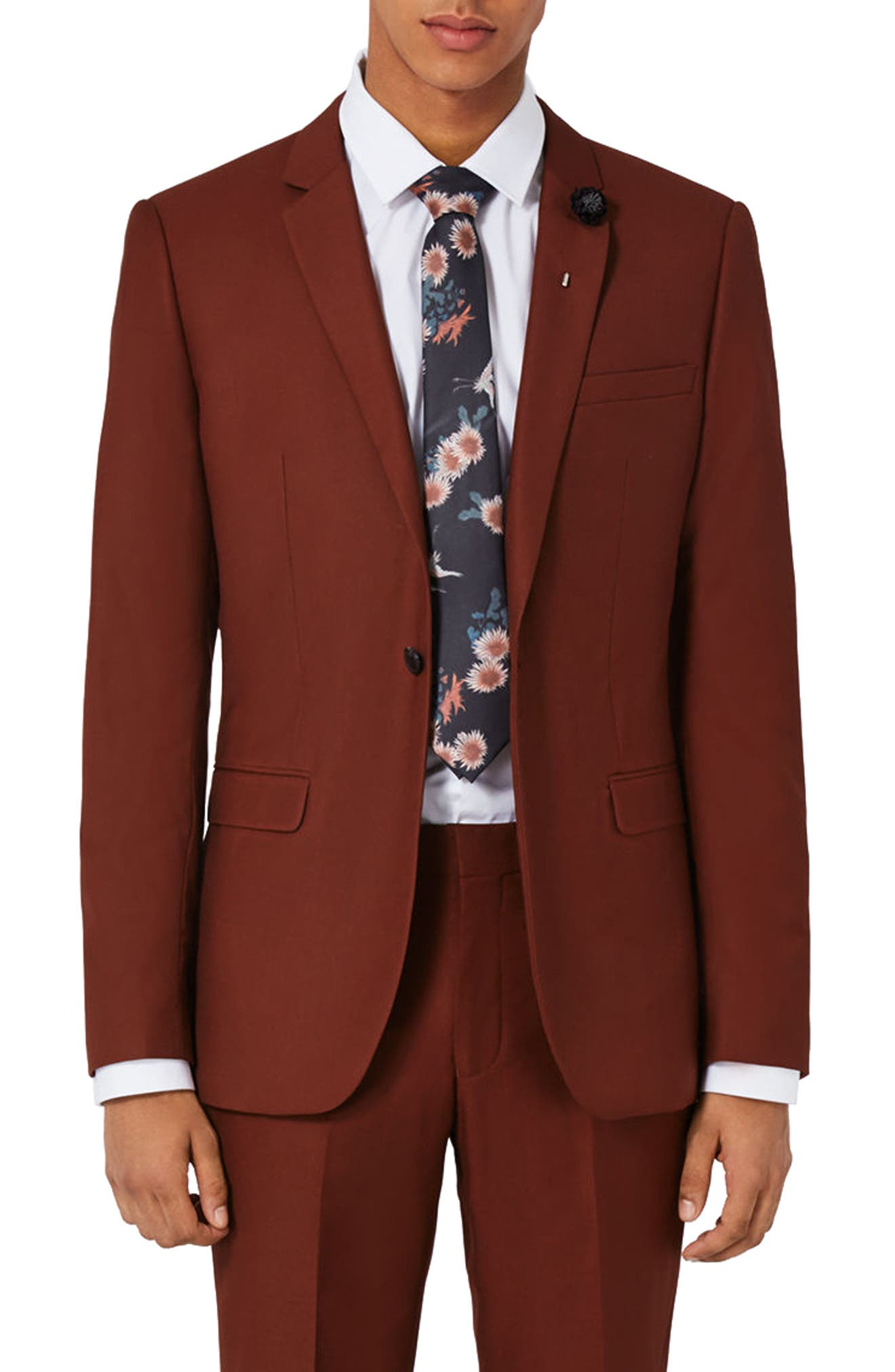 Skinny Fit Suit Jacket,                             Main thumbnail 1, color,                             Burgundy